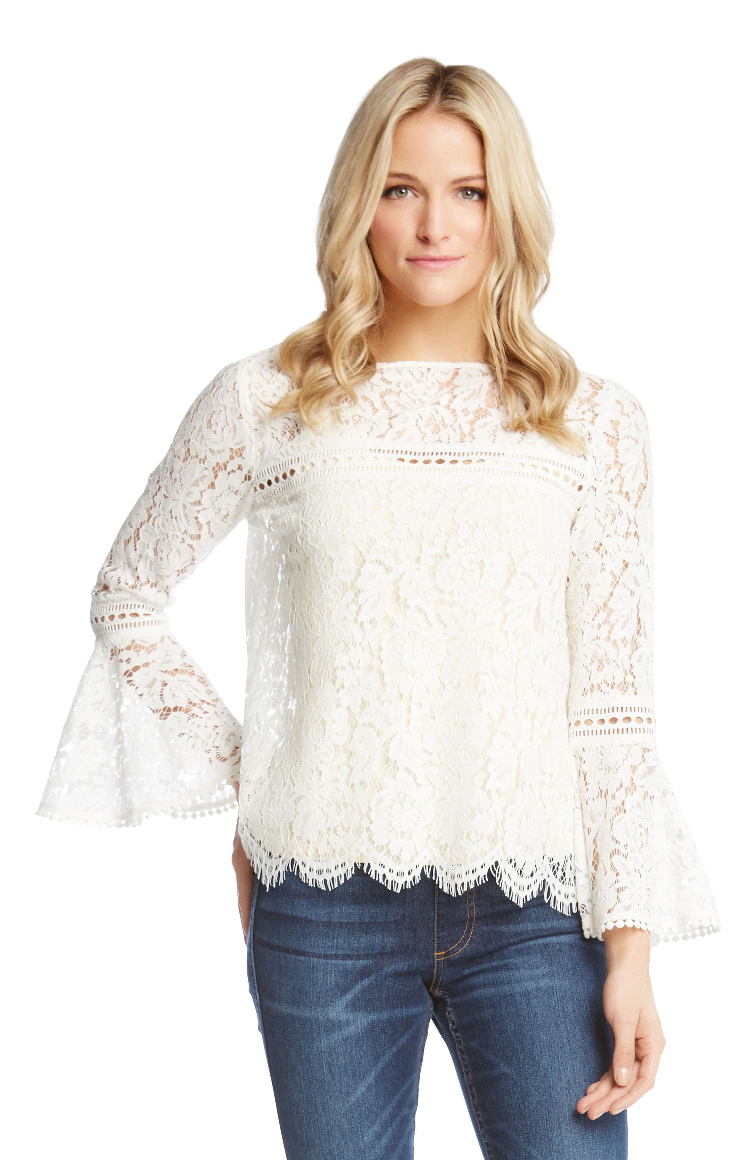 Embellished Lace Bell Sleeve Top,                             Alternate thumbnail 3, color,                             909