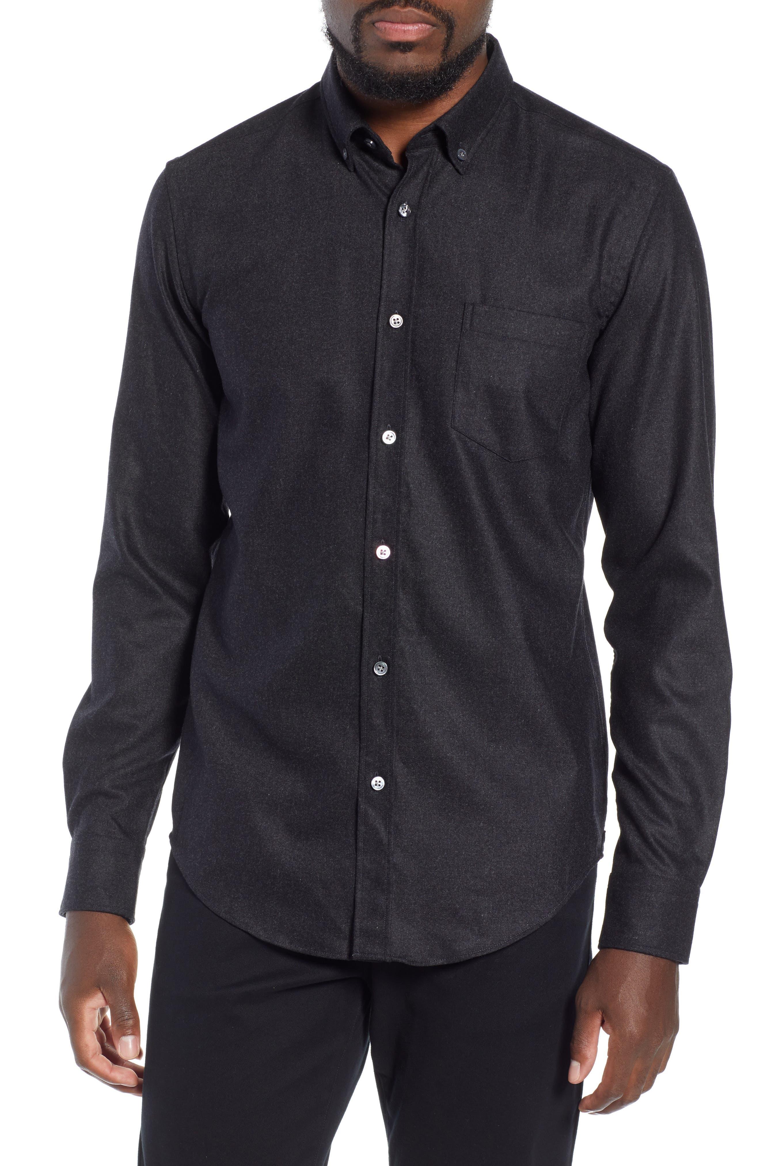 T-Rafael Long Sleeve Slim Fit Flannel Sport Shirt,                             Main thumbnail 1, color,                             GREY