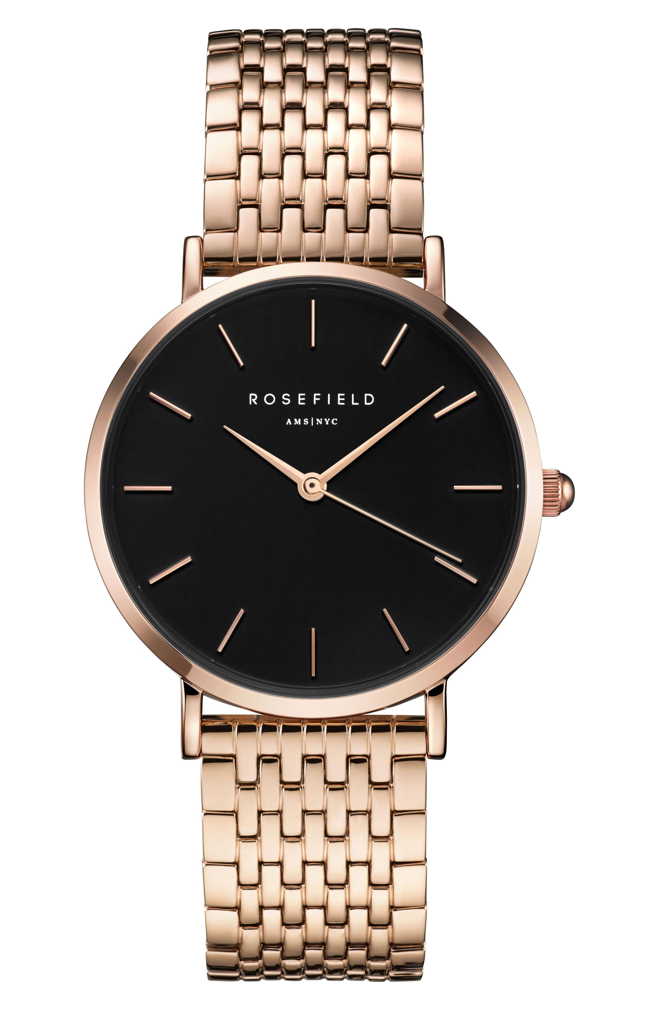 Upper East Side Bracelet Watch, 33mm,                             Main thumbnail 1, color,                             ROSE GOLD/ BLACK/ ROSE GOLD