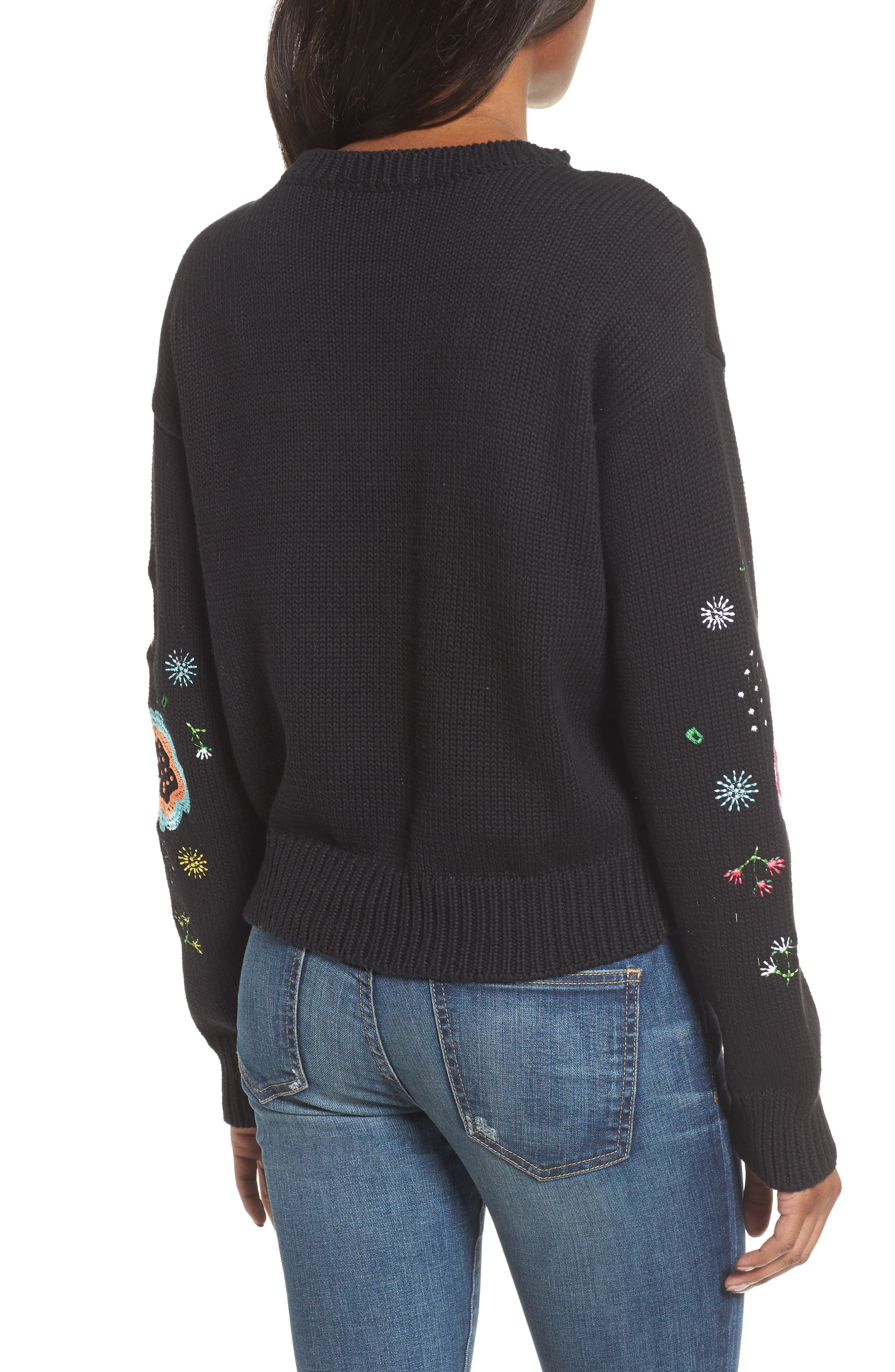 Floral Embroidered Sweater,                             Alternate thumbnail 2, color,                             001