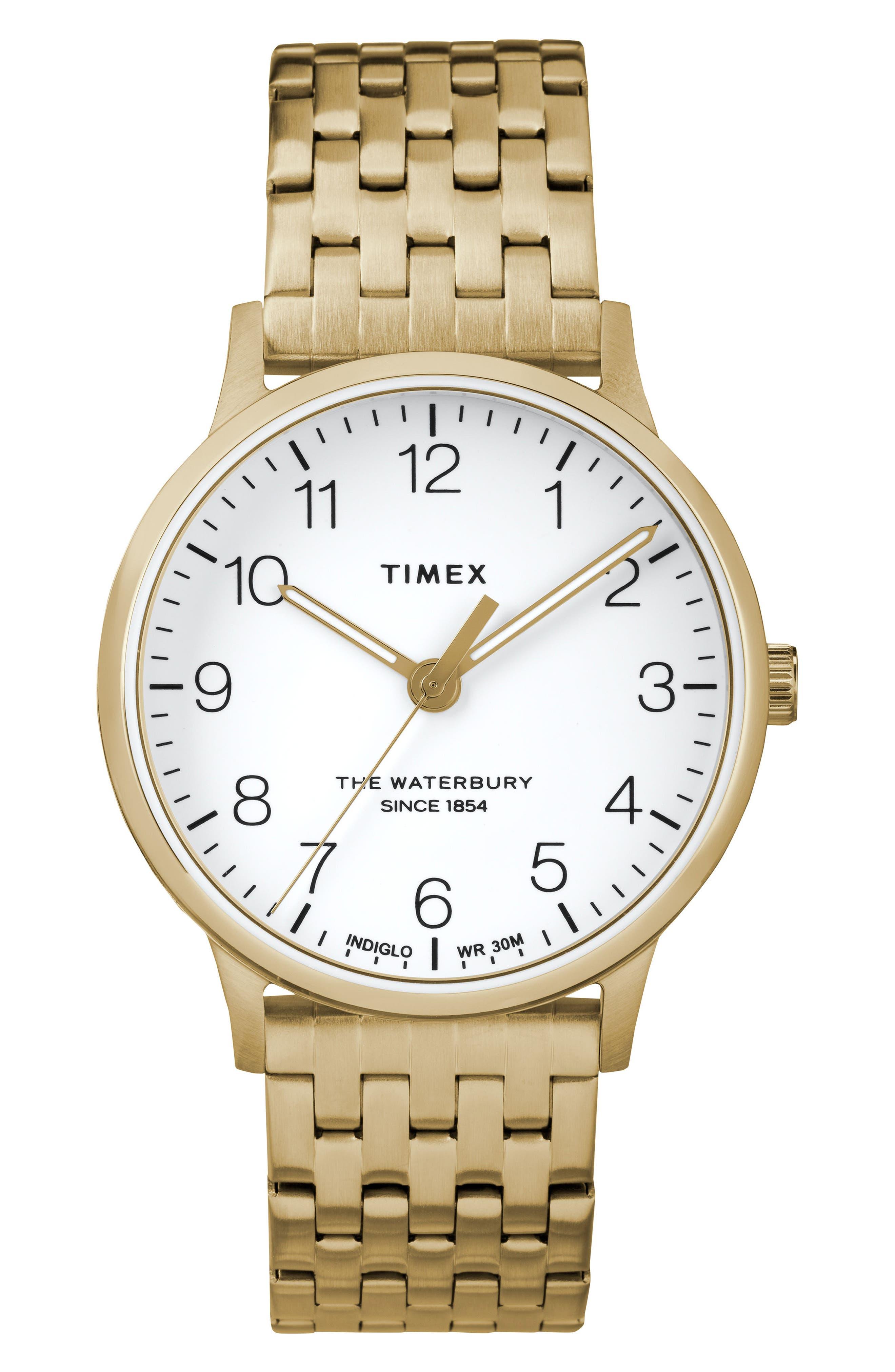 Waterbury Bracelet Watch, 36mm,                             Main thumbnail 1, color,                             GOLD/ WHITE/ GOLD