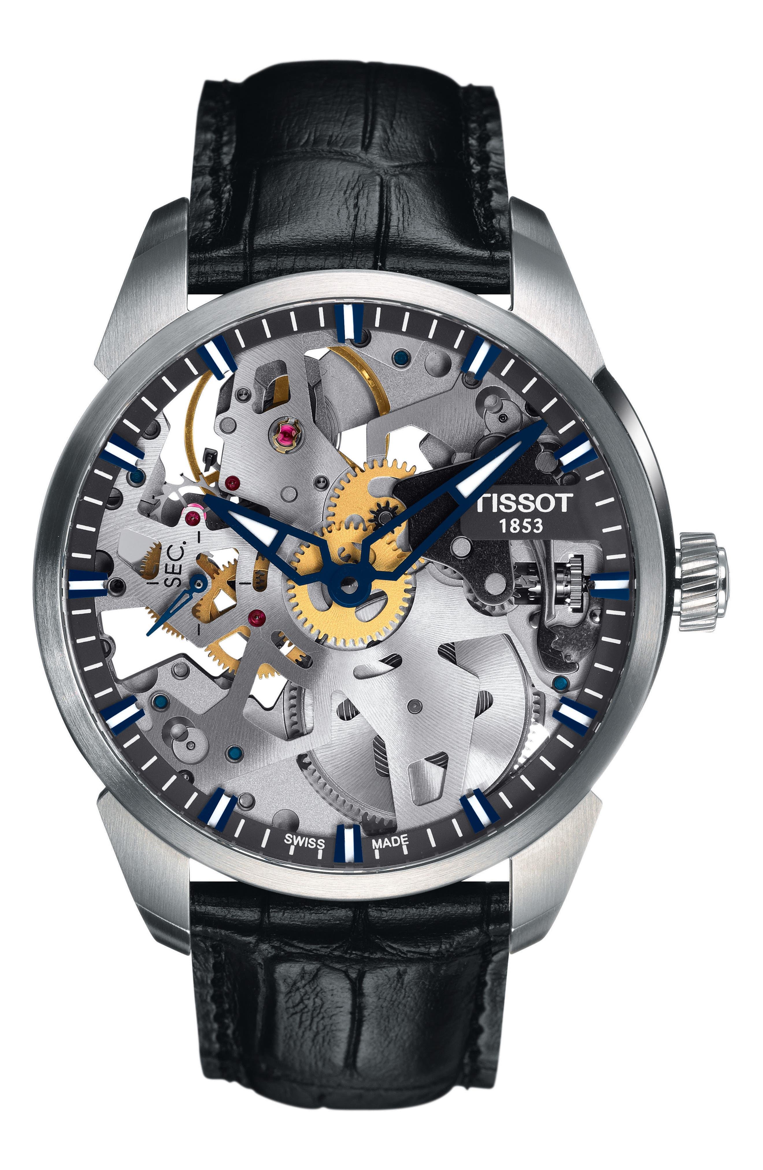 TISSOT,                             T-Complicated Squellette Mechanical Watch, 43mm,                             Main thumbnail 1, color,                             BLACK/ SILVER