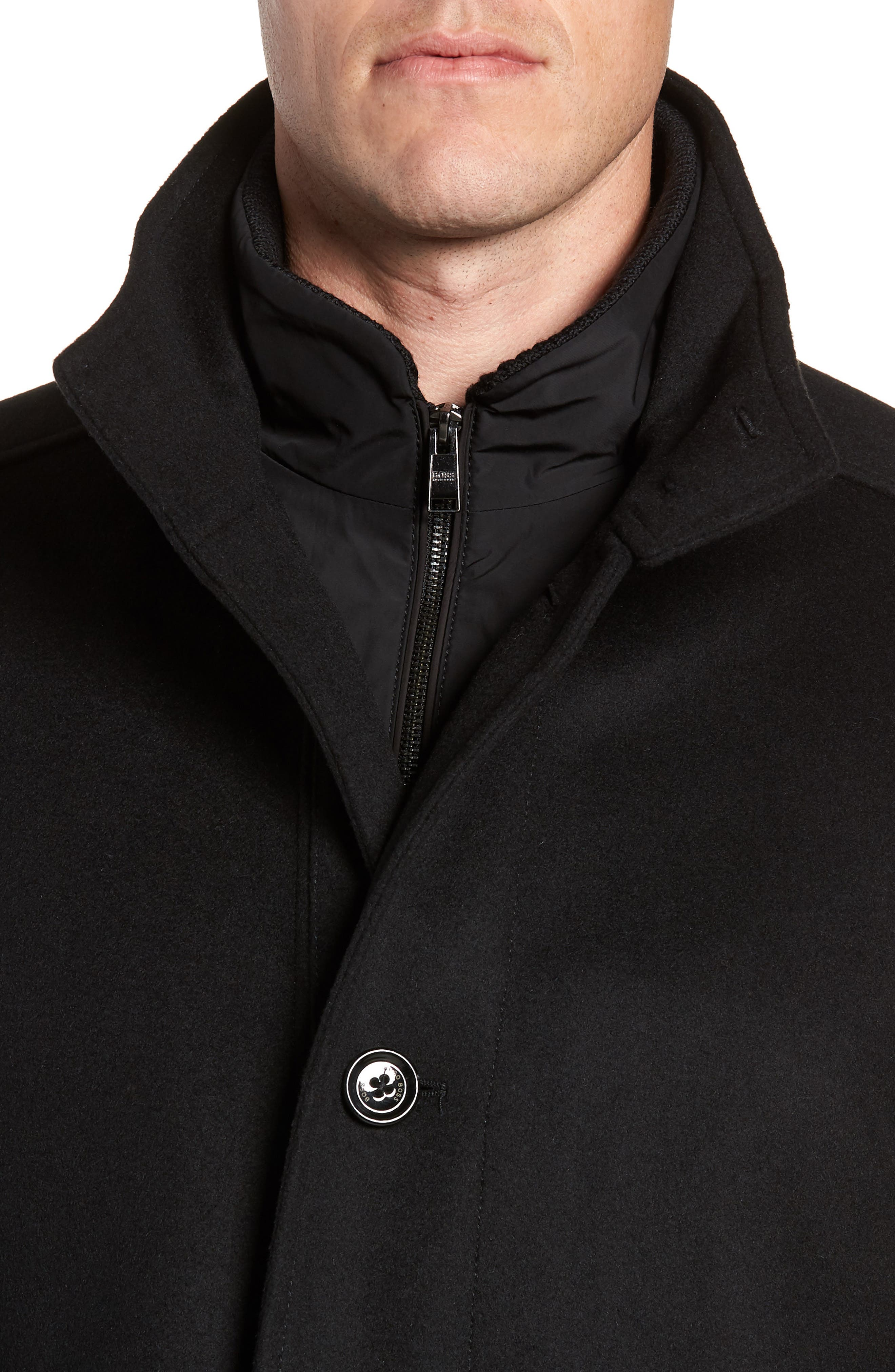 Coxtan Wool Regular Fit Car Coat,                             Alternate thumbnail 4, color,                             BLACK