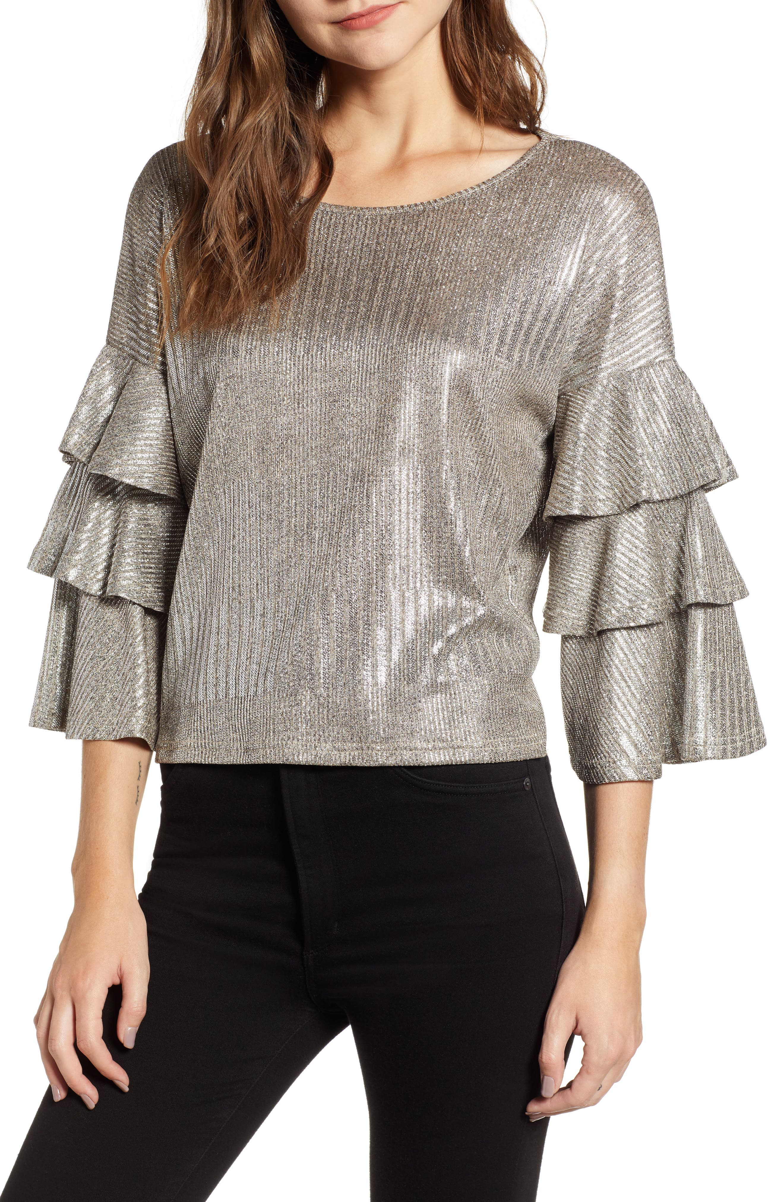 Metallic Tiered Ruffle Sleeve Top,                             Main thumbnail 1, color,                             METALLIC