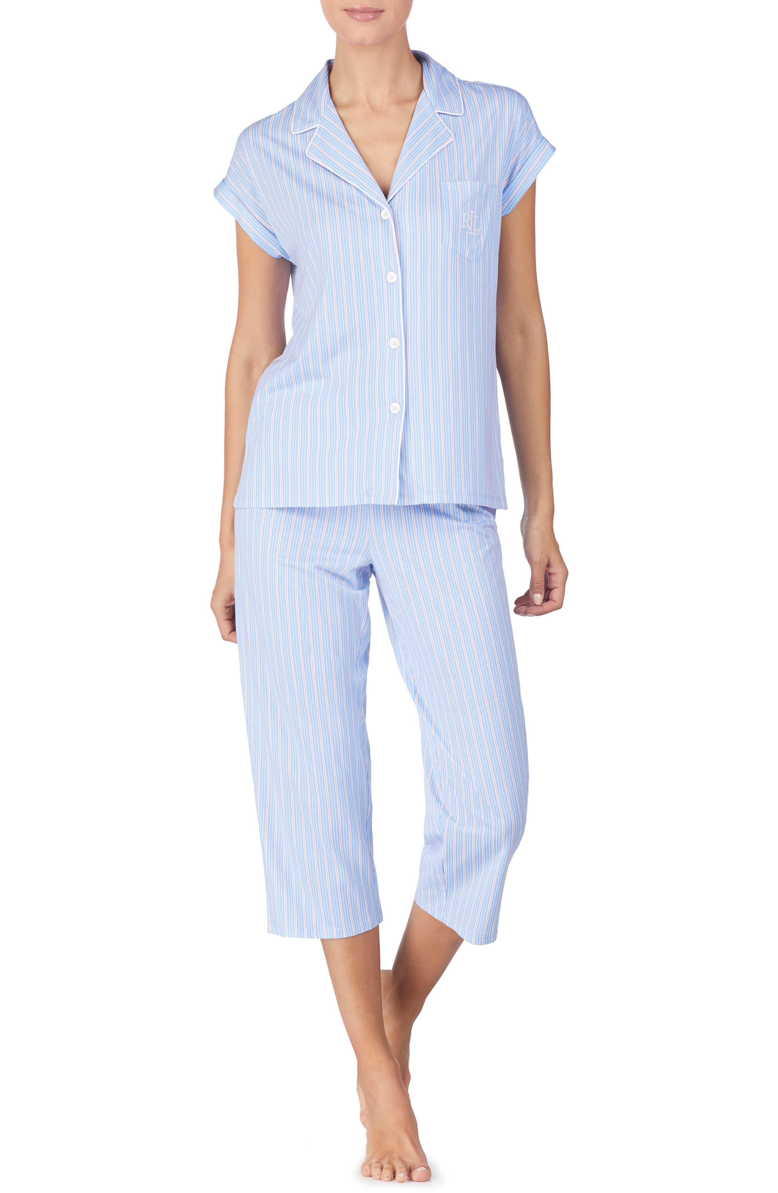 LAUREN RALPH LAUREN Capri Pajamas, Main, color, BLUE STRIPE