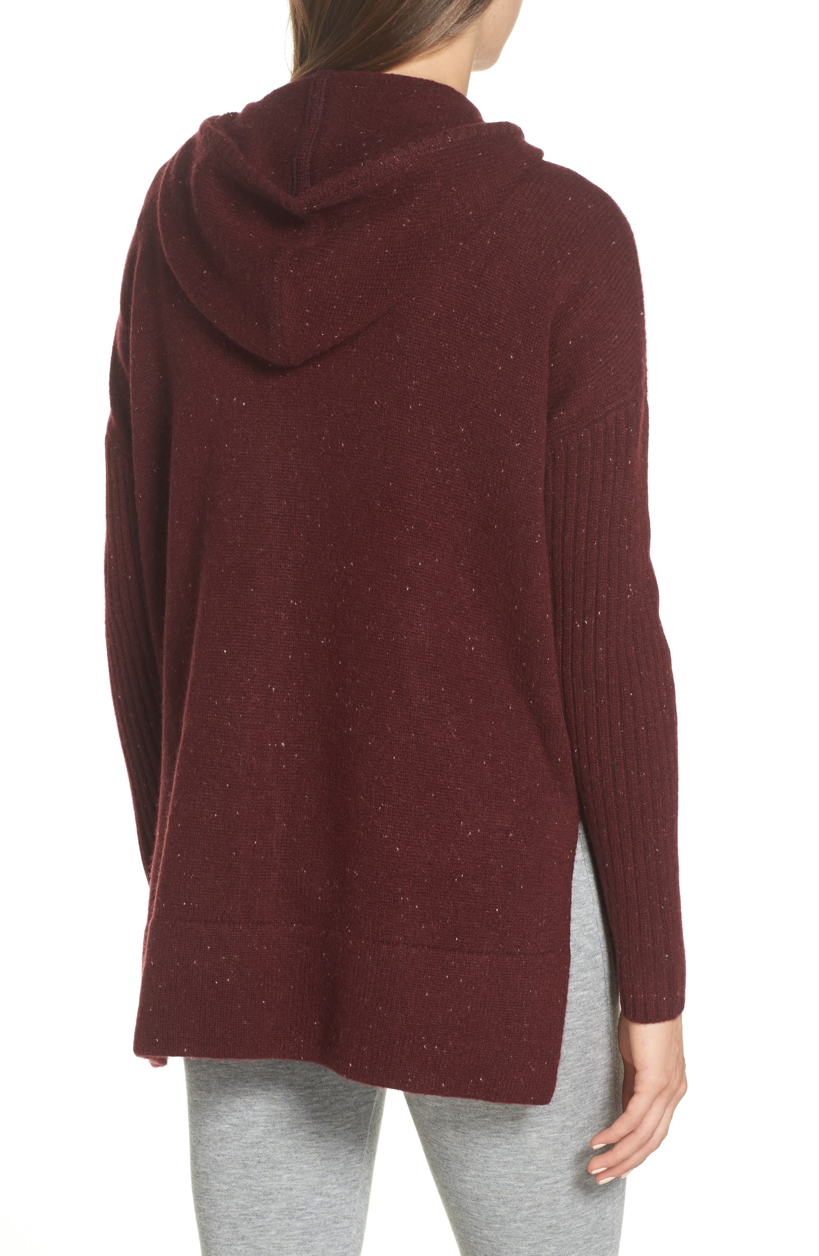 Elyse Cashmere Zip Hoodie,                             Alternate thumbnail 2, color,                             PORT HEATHER