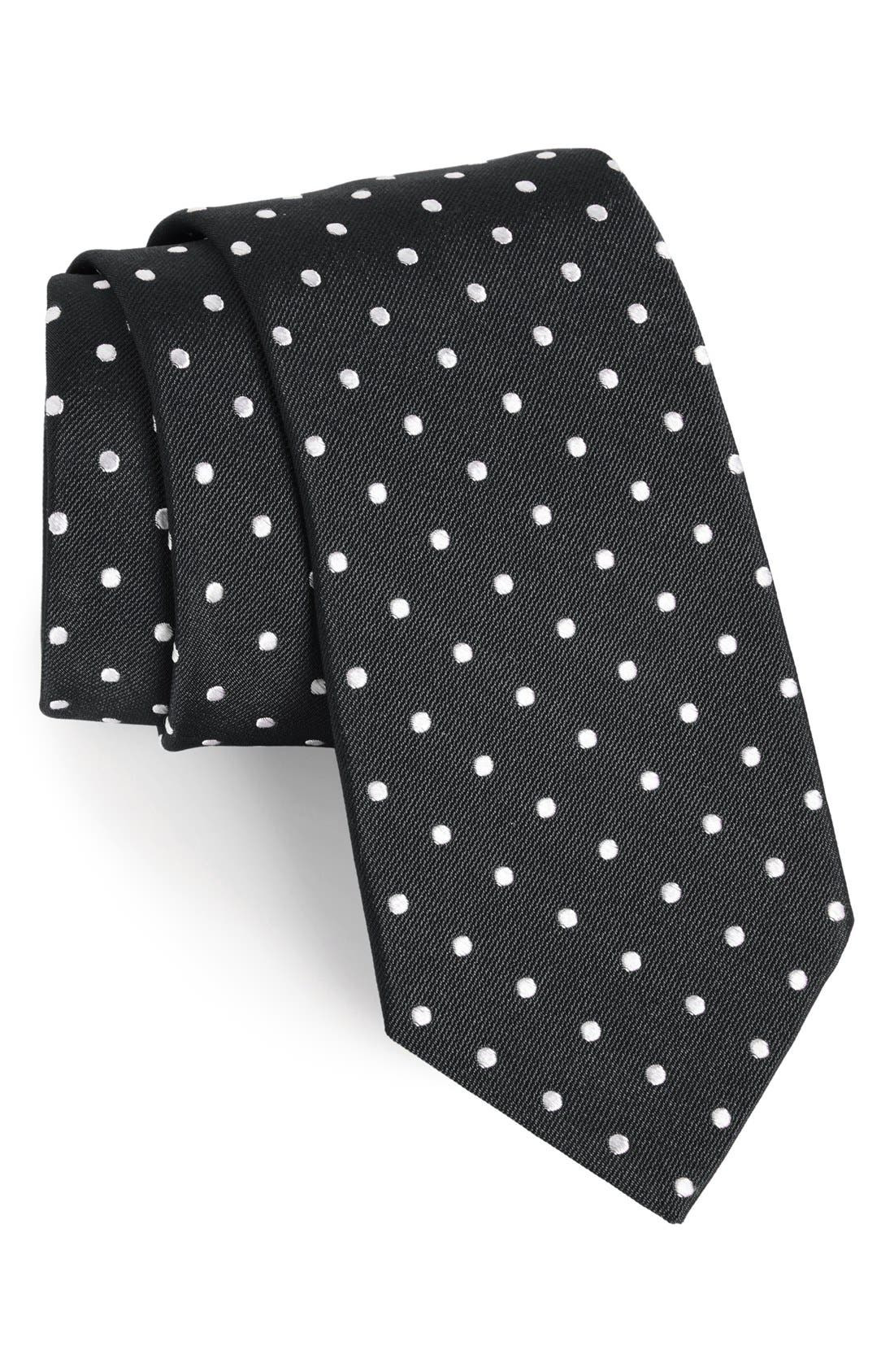 Polka Dot Silk Tie,                         Main,                         color, BLACK