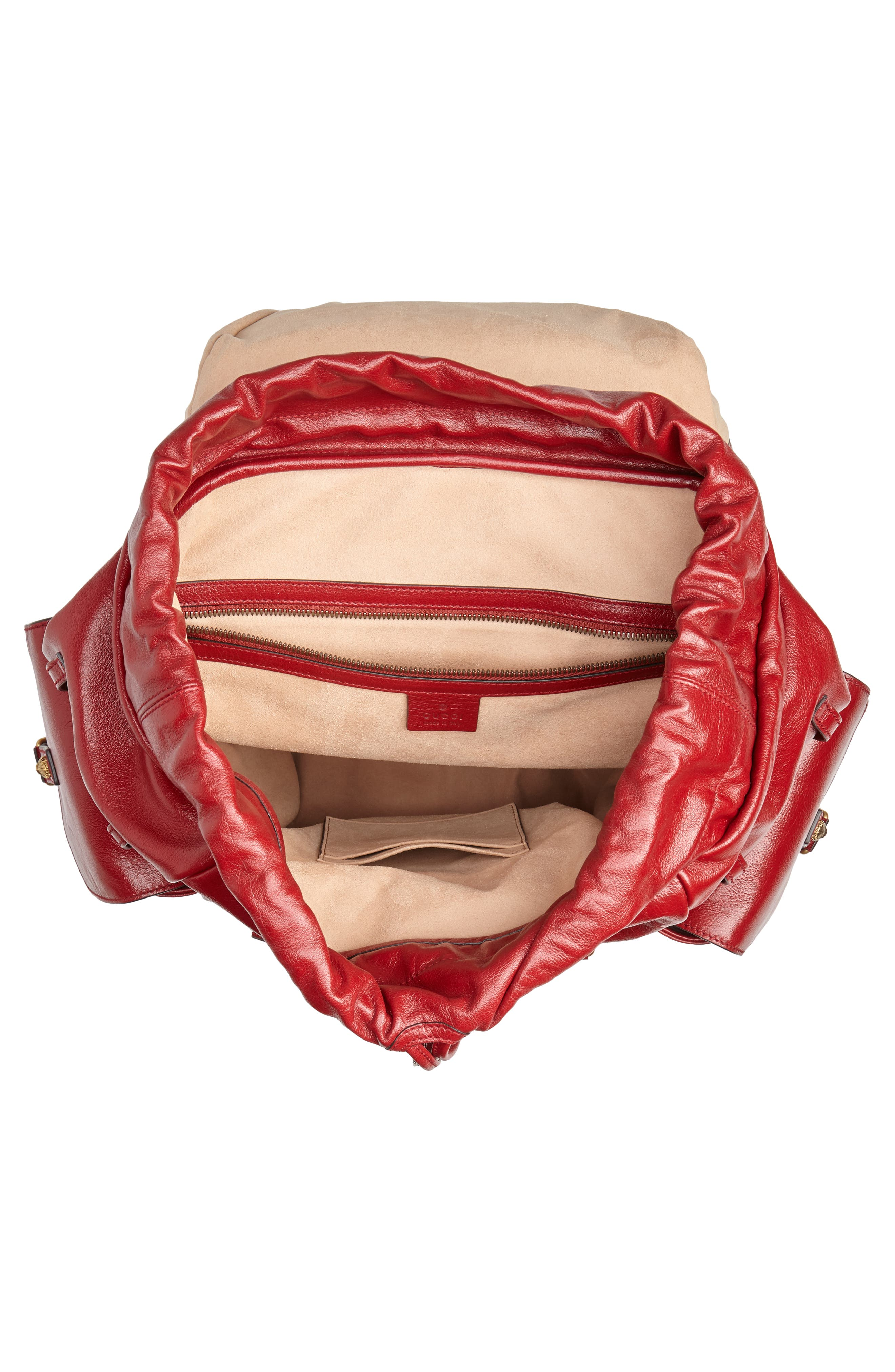 Piuma Leather Travel Backpack,                             Alternate thumbnail 4, color,                             PINK