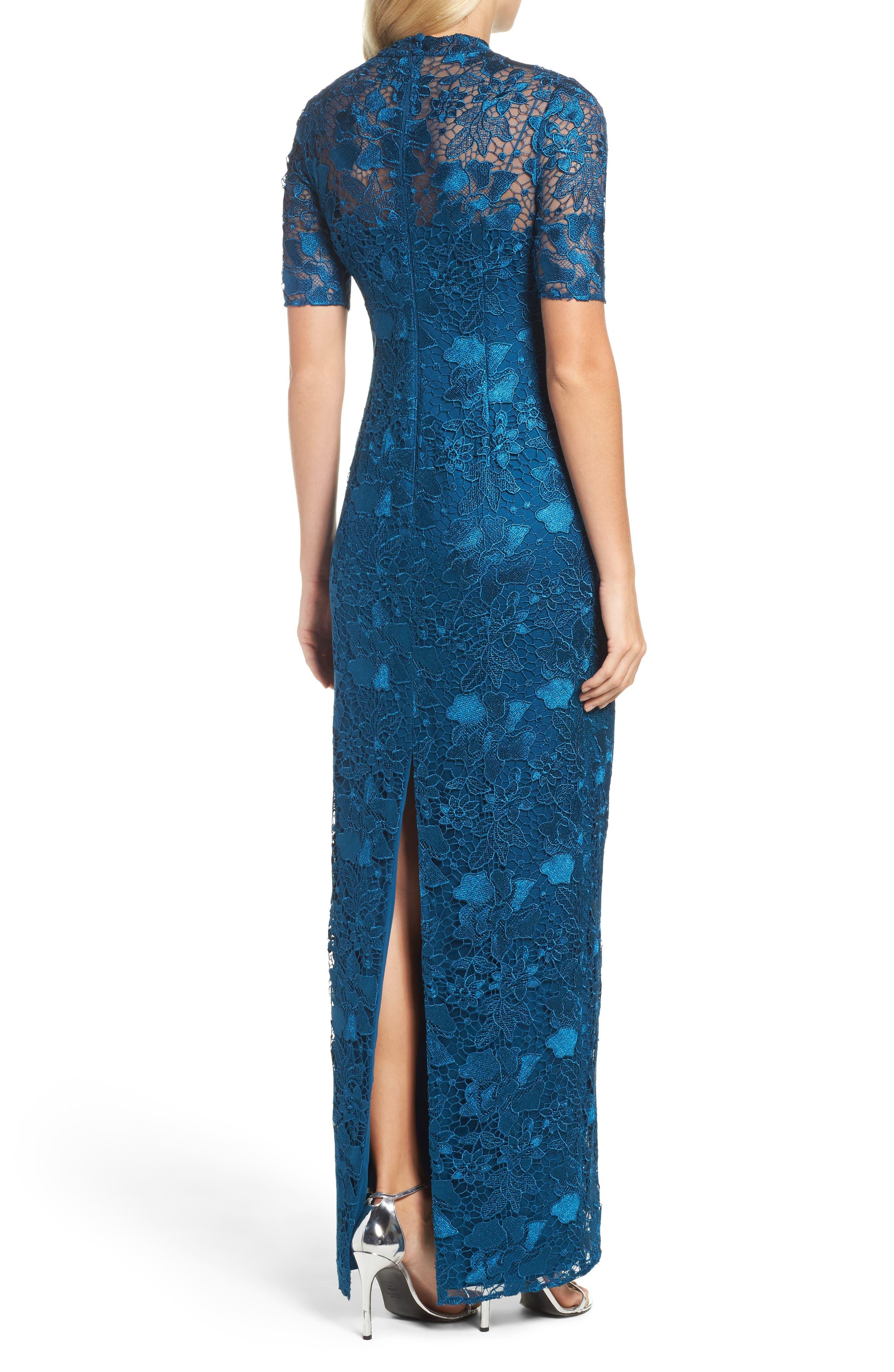 Guipure Lace Column Gown,                             Alternate thumbnail 2, color,                             471