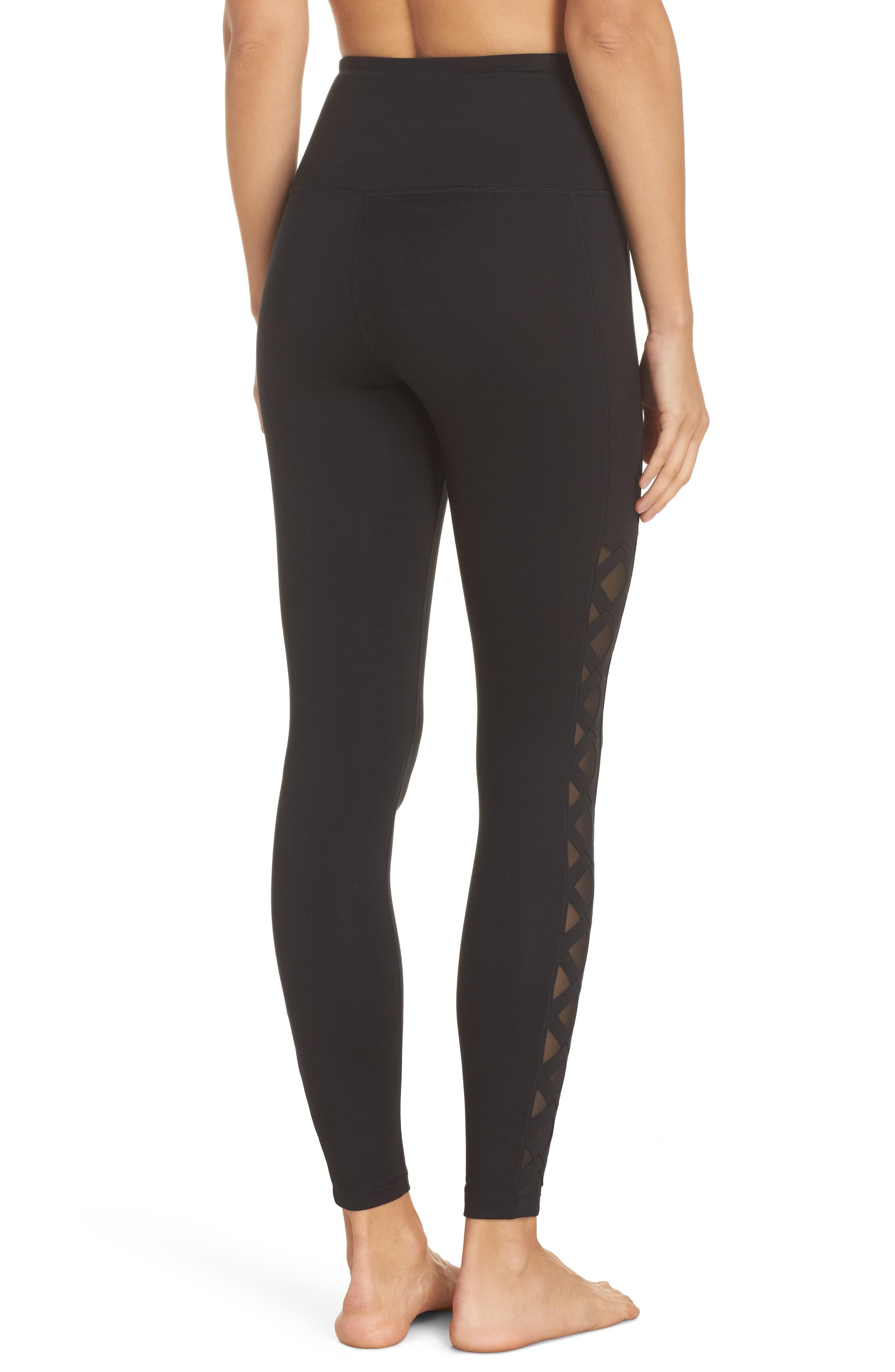 Laser Cut High Waist Leggings,                             Alternate thumbnail 2, color,