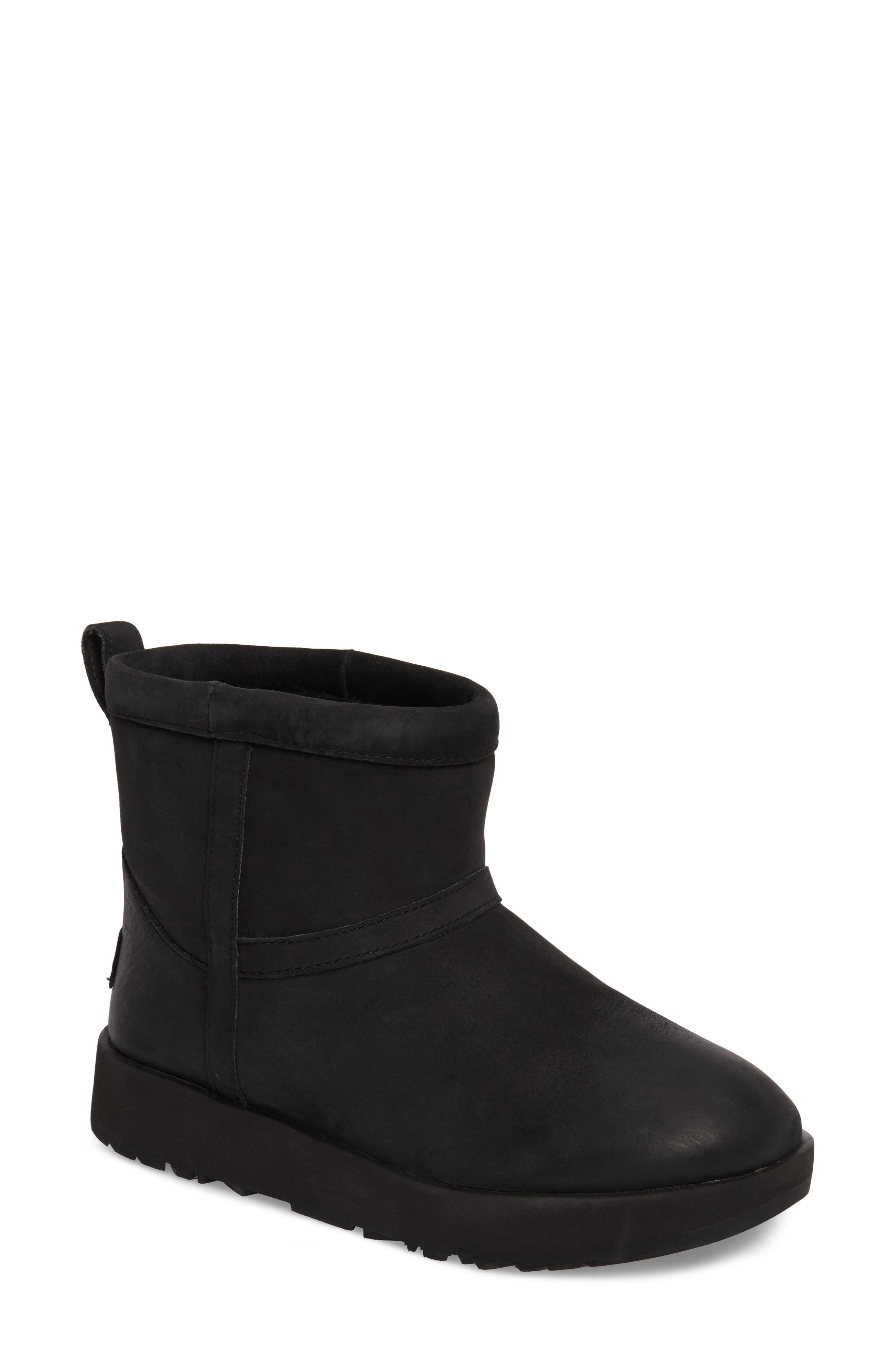 Classic Mini Genuine Shearling Lined Waterproof Boot,                             Main thumbnail 1, color,                             BLACK LEATHER