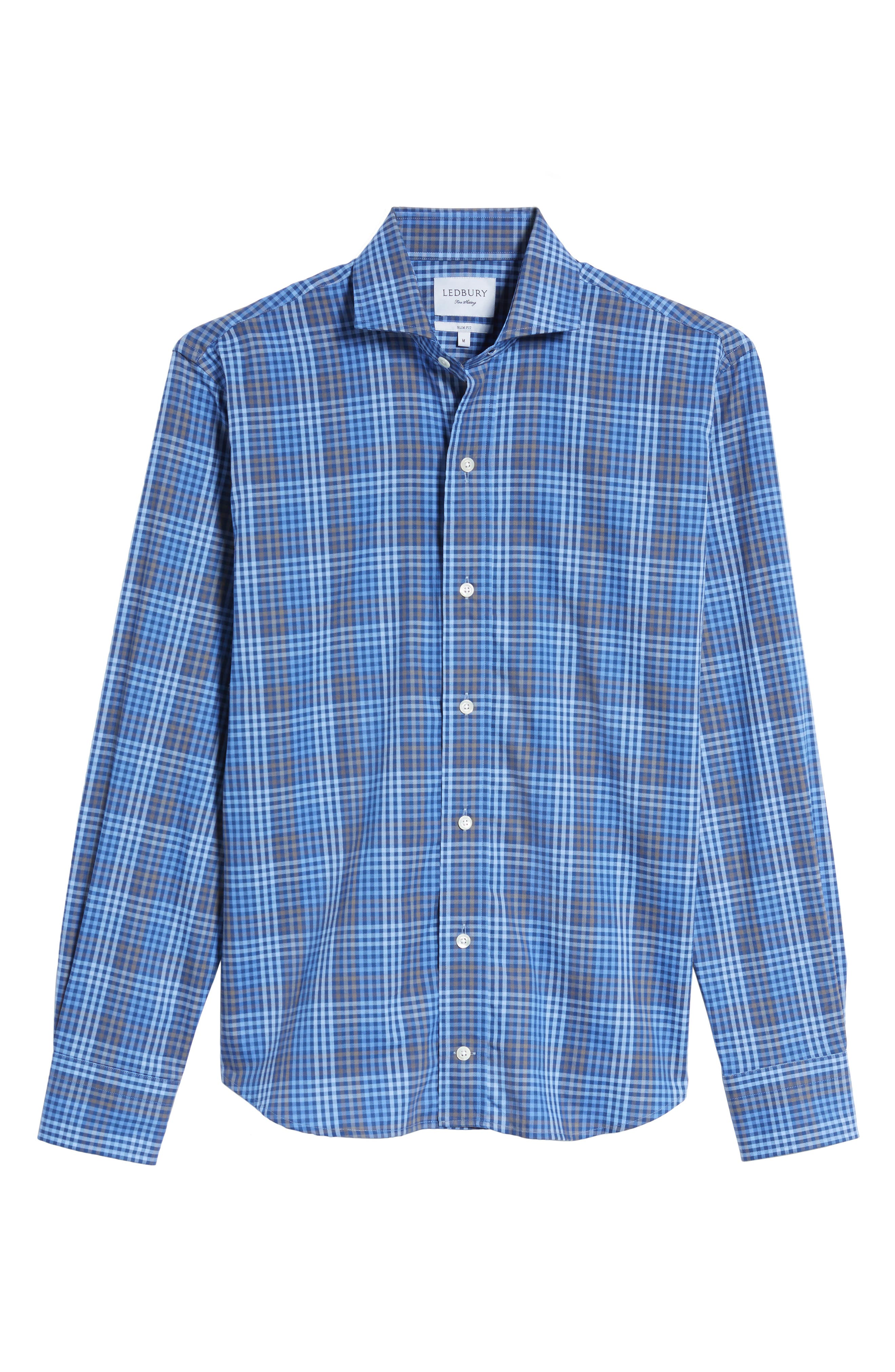 Alden Slim Fit Check Sport Shirt,                             Alternate thumbnail 6, color,                             400
