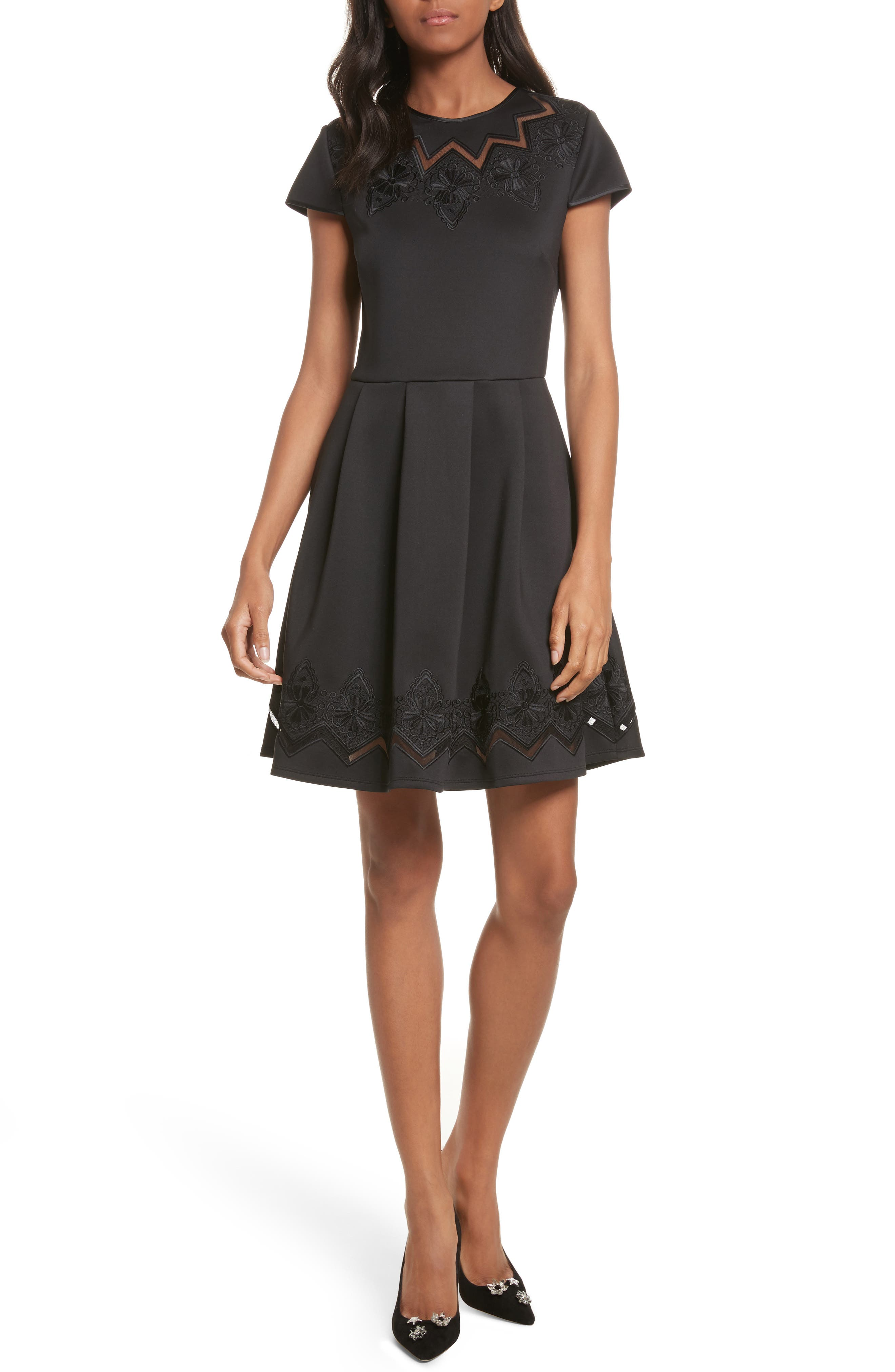 Mesh & Lace Trim Skater Dress,                         Main,                         color, 001