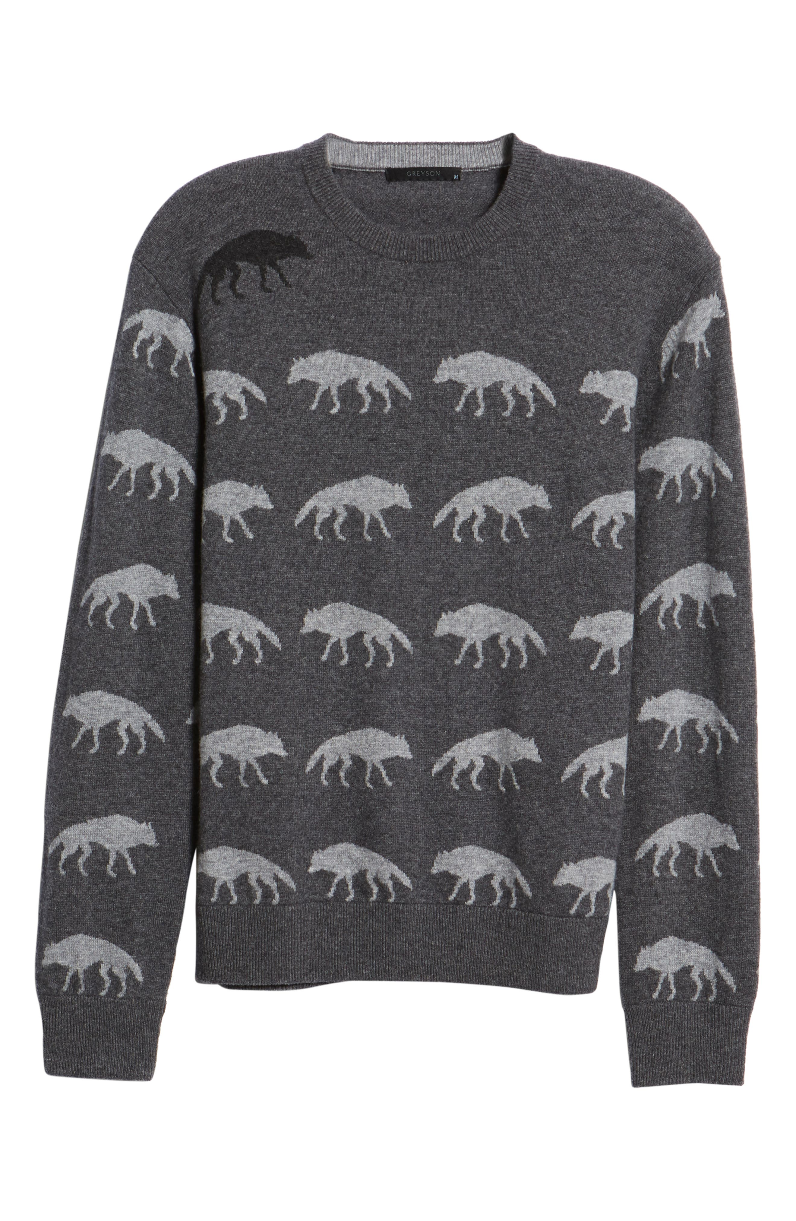 Alphawolf Intarsia Crewneck Sweater,                             Alternate thumbnail 6, color,                             GREY HEATHER