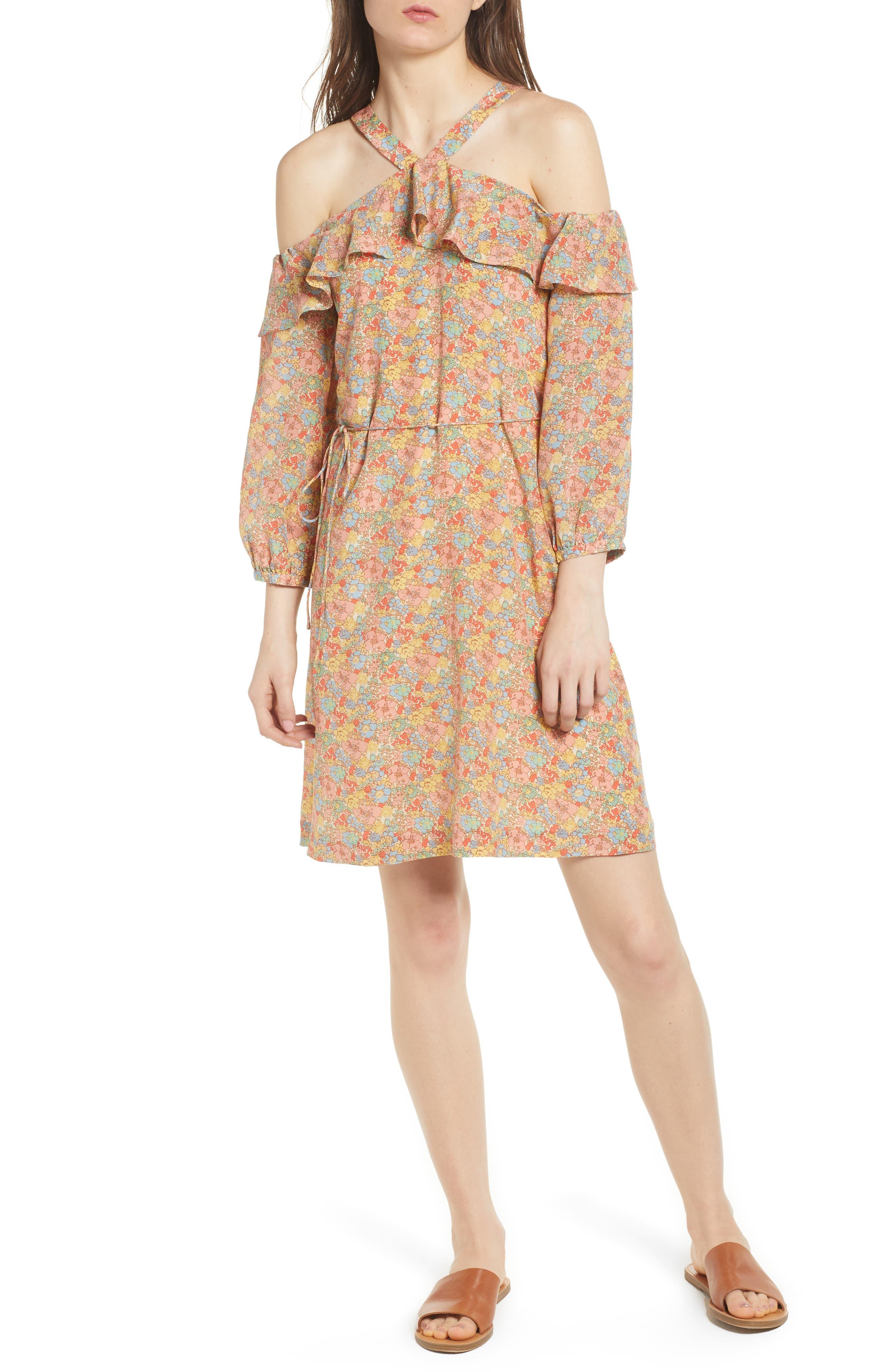 Forsythia Cold Shoulder Silk Dress,                         Main,                         color, 650