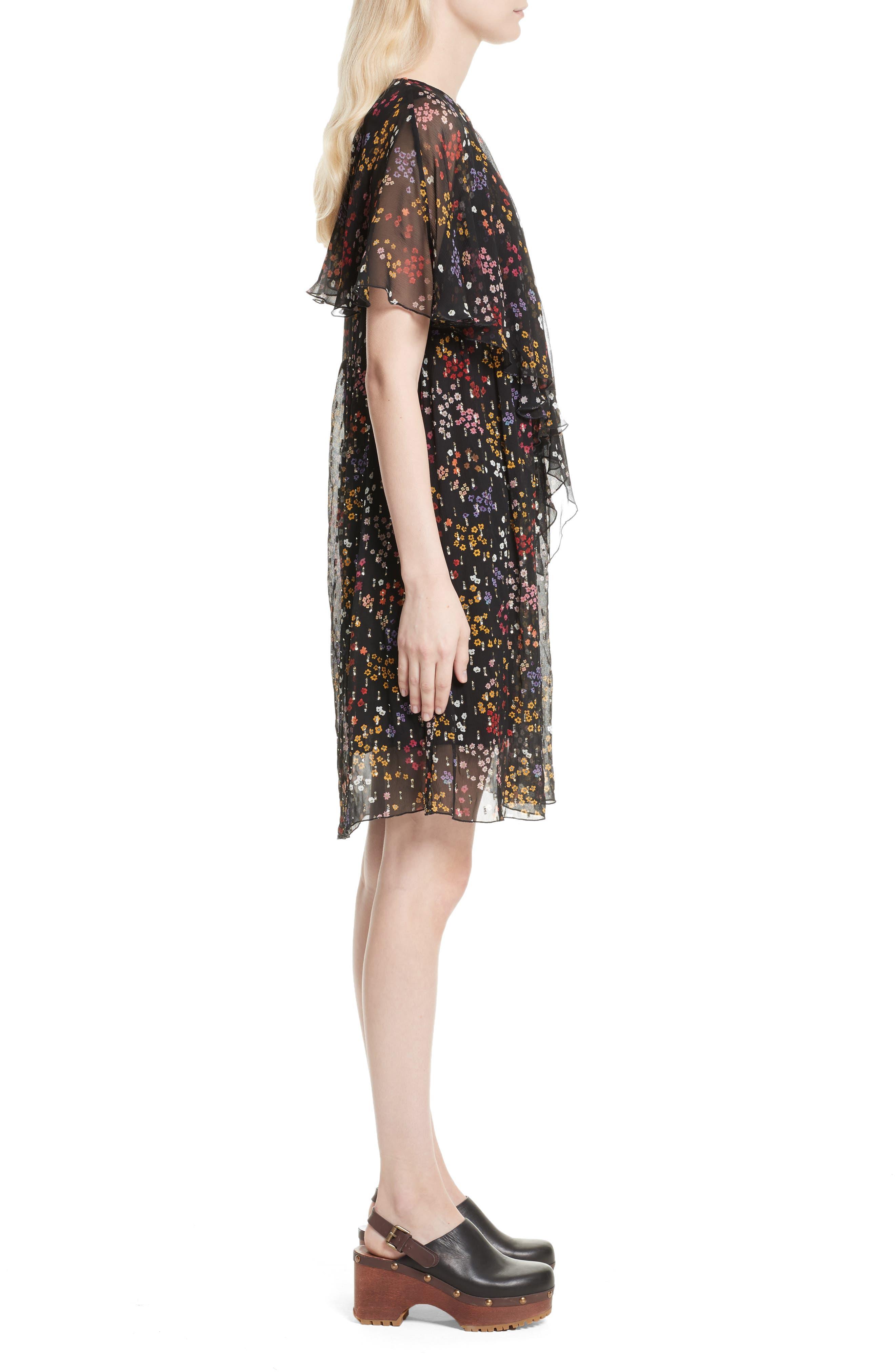 Floral Fil Coupé Silk Dress,                             Alternate thumbnail 3, color,                             001