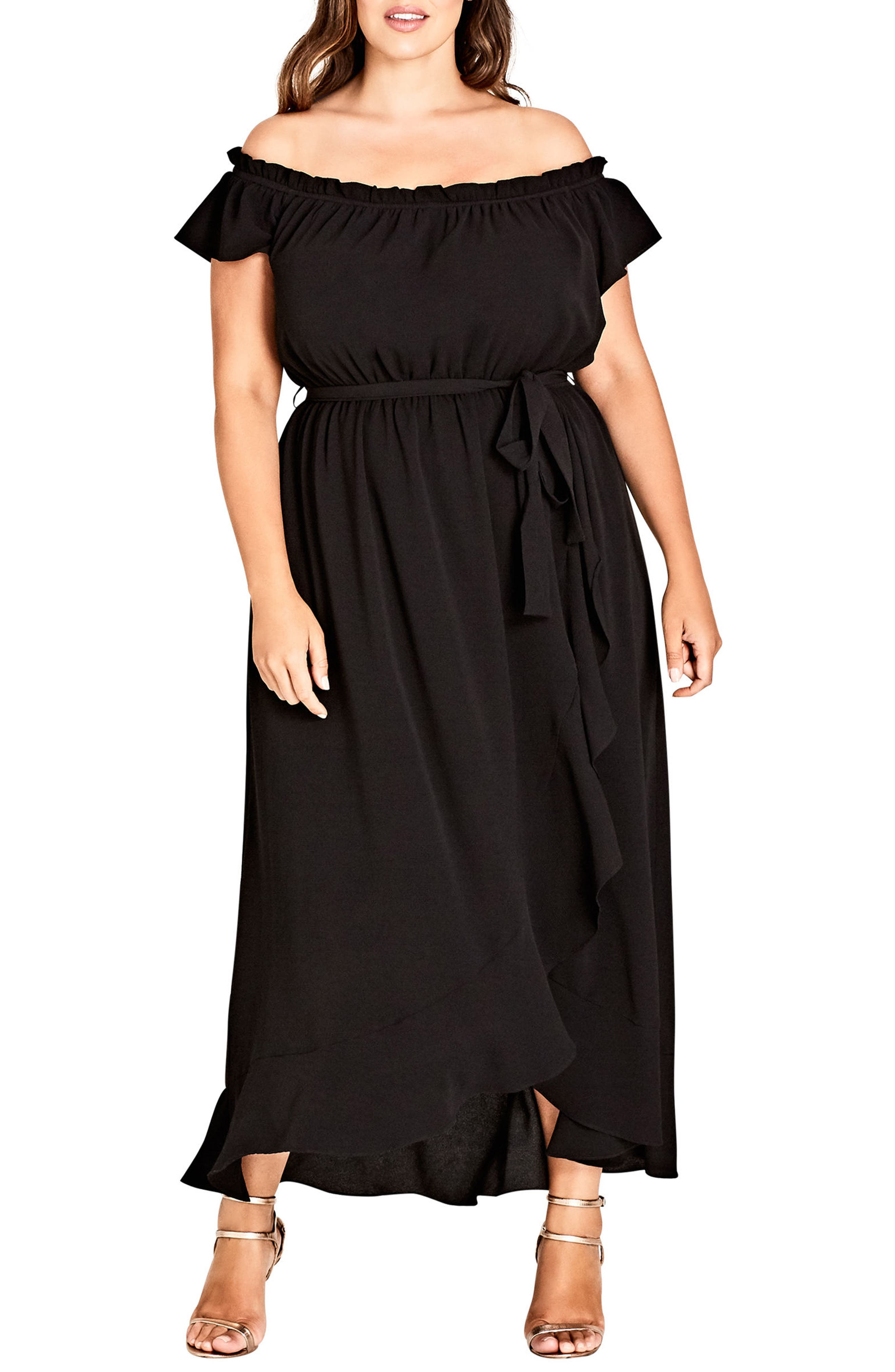 CITY CHIC Ruffle Off the Shoulder Dress, Main, color, 006