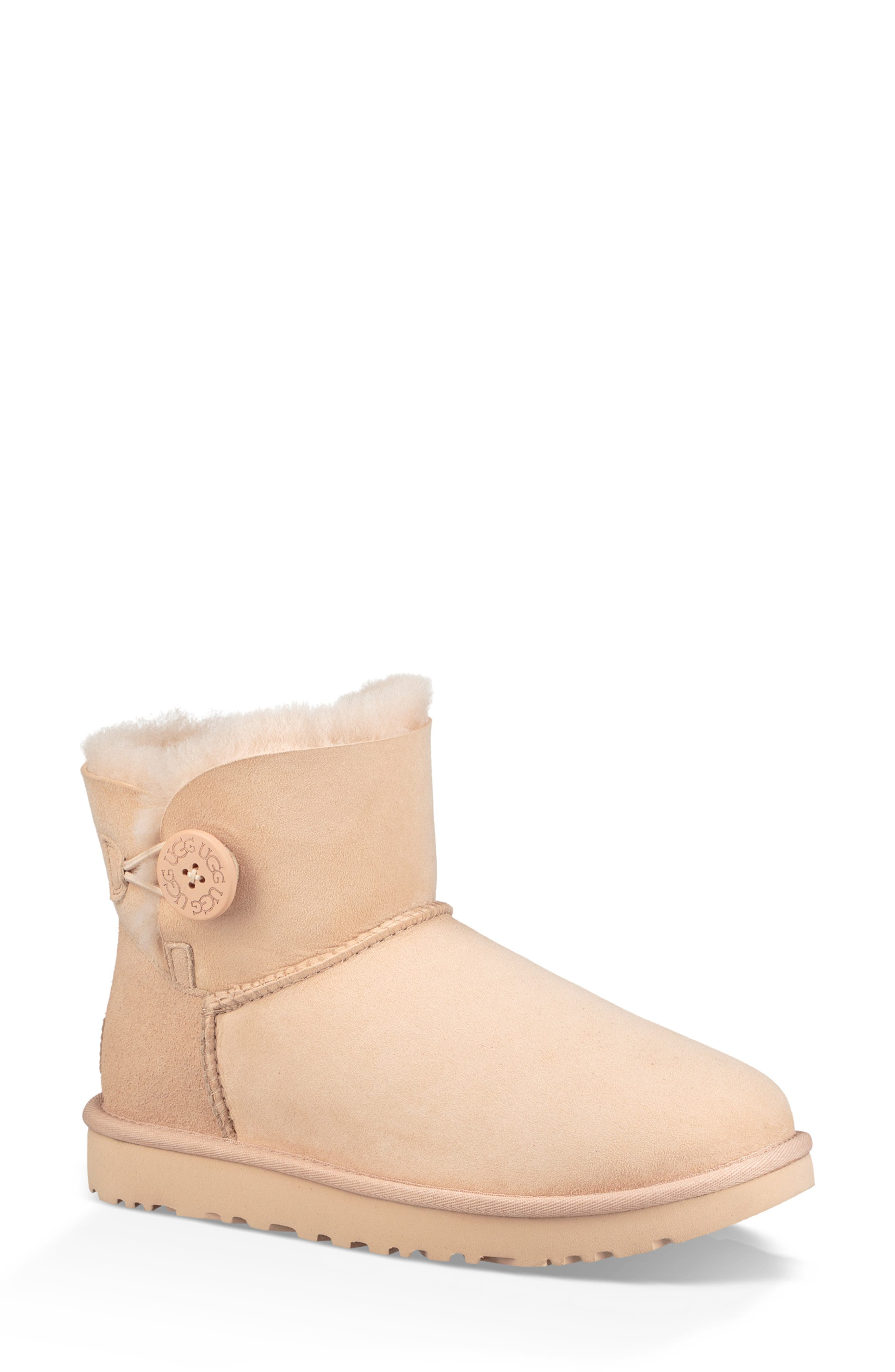 'Mini Bailey Button II' Boot,                             Main thumbnail 1, color,                             AMBER LIGHT SUEDE