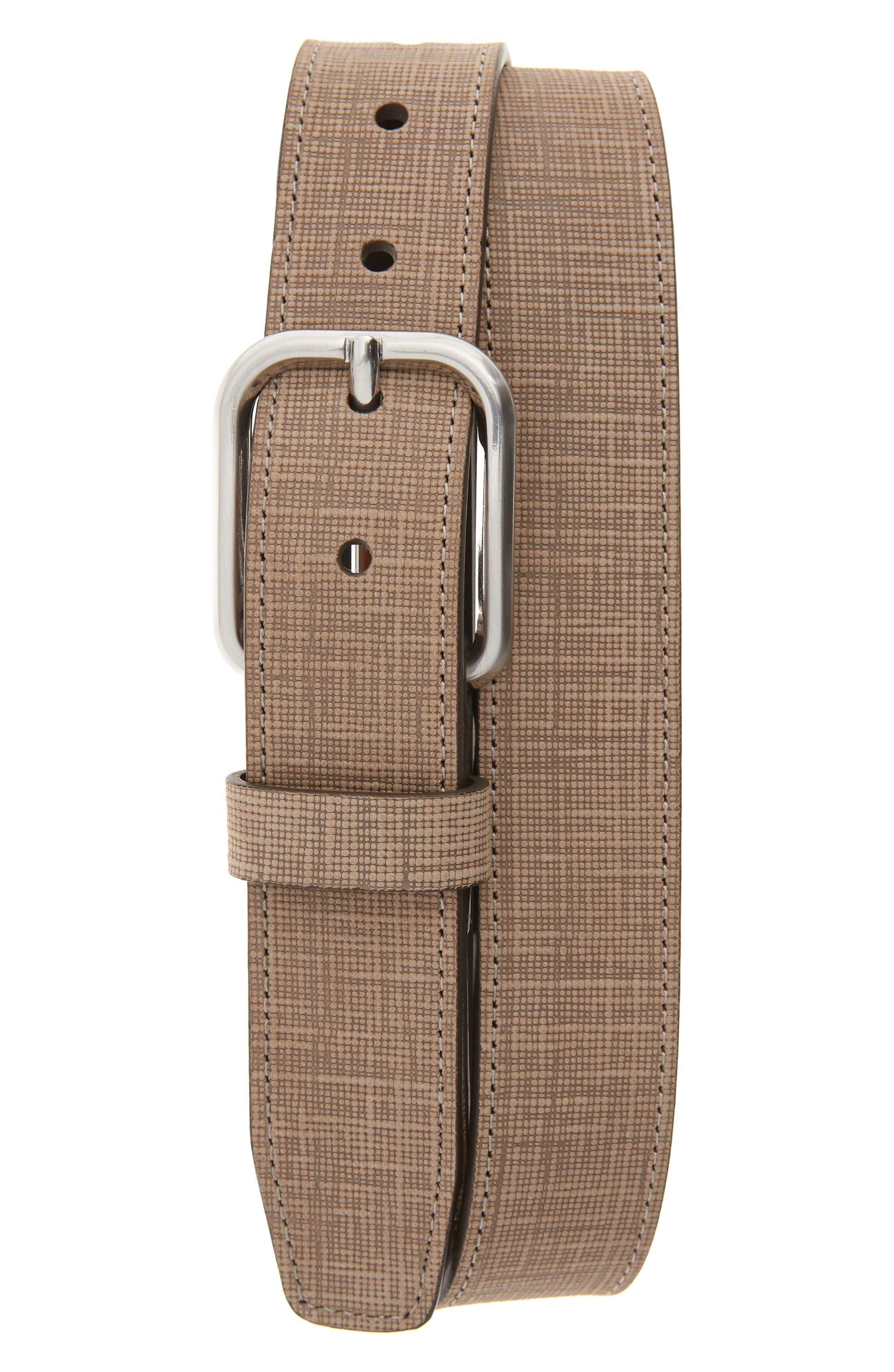 Johnston & Murphy Crosshatch Leather Belt, Camel