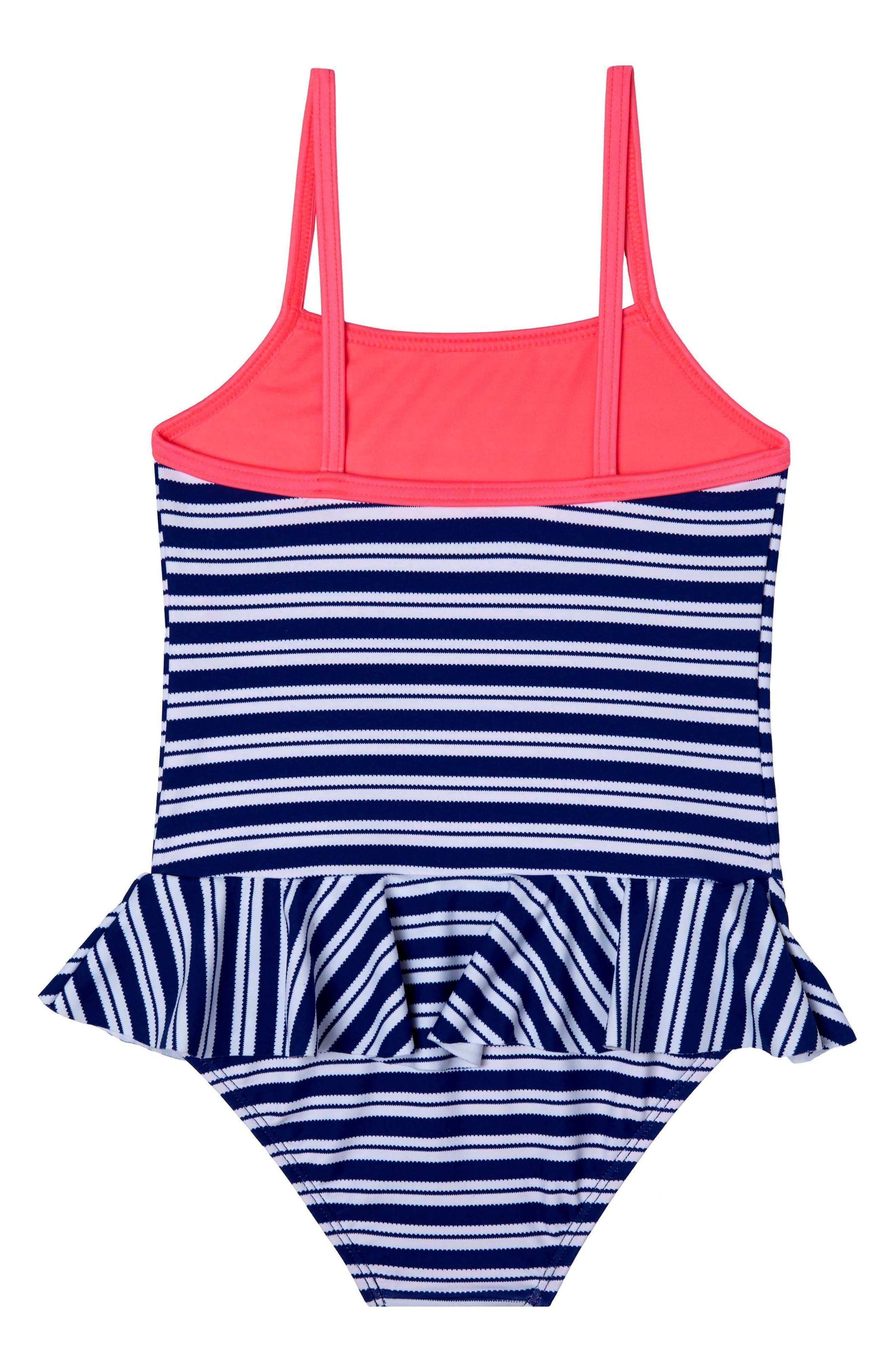 Retro Stripe One-Piece Swimsuit,                             Main thumbnail 1, color,                             NAVY