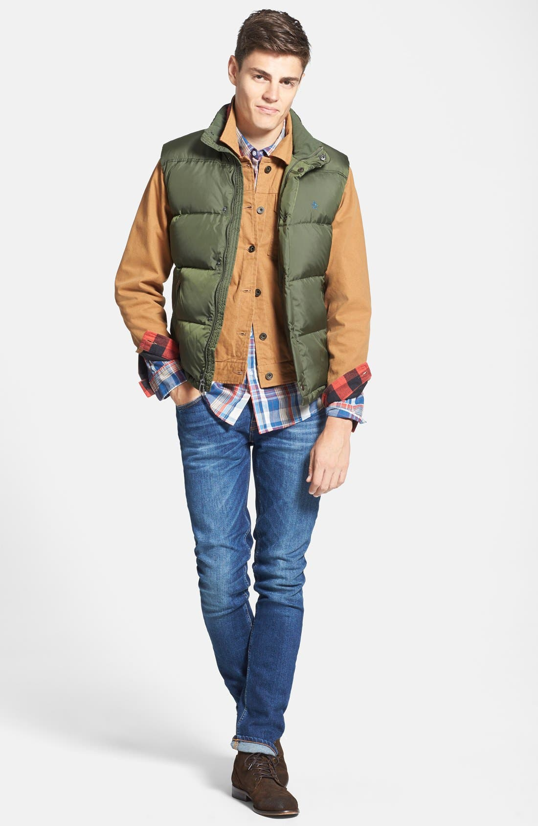 Down & Feather Fill Puffer Vest, Main, color, 389