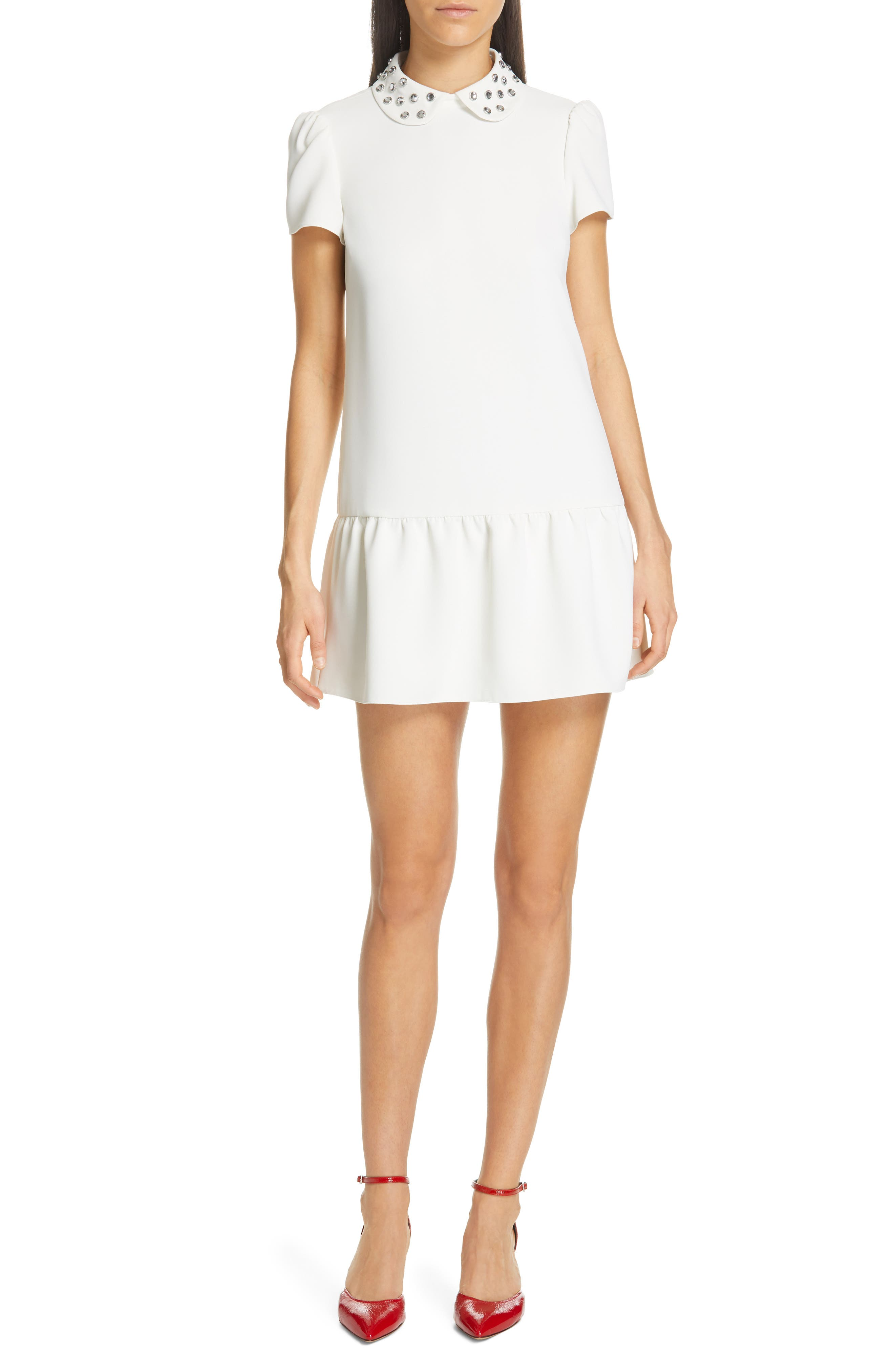 Red Valentino Crystal Drop Waist Dress, US / 48 IT - White