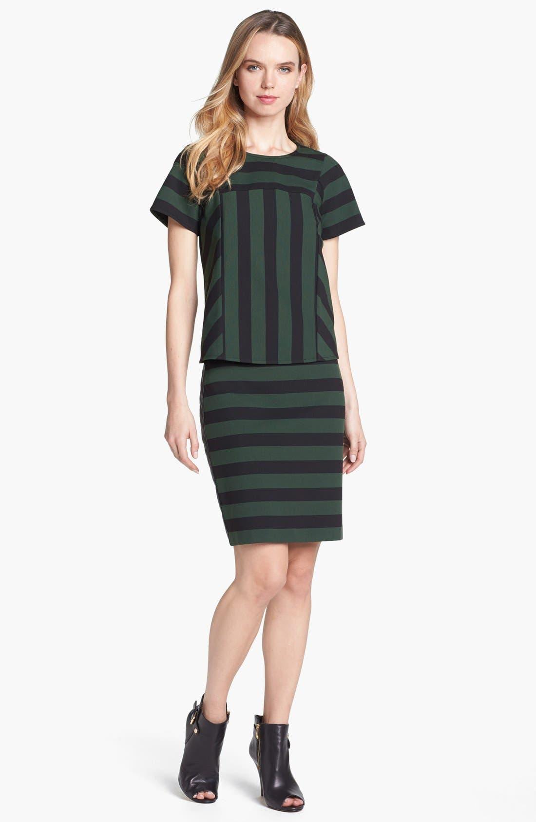Faux Leather Trim Stripe Pencil Skirt,                             Alternate thumbnail 7, color,