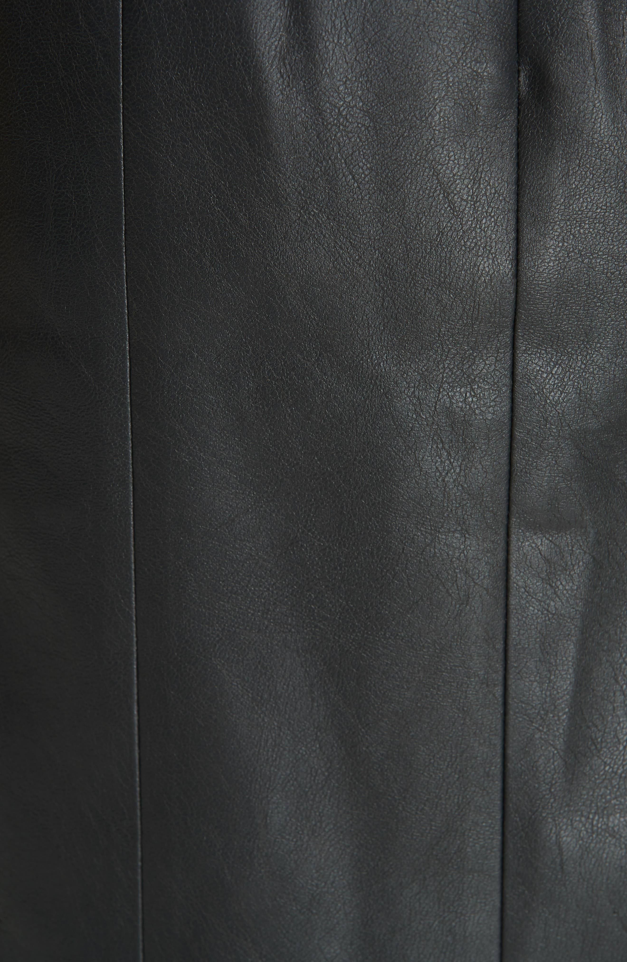 Faux Leather Ruffle Skirt,                             Alternate thumbnail 5, color,                             BLACK