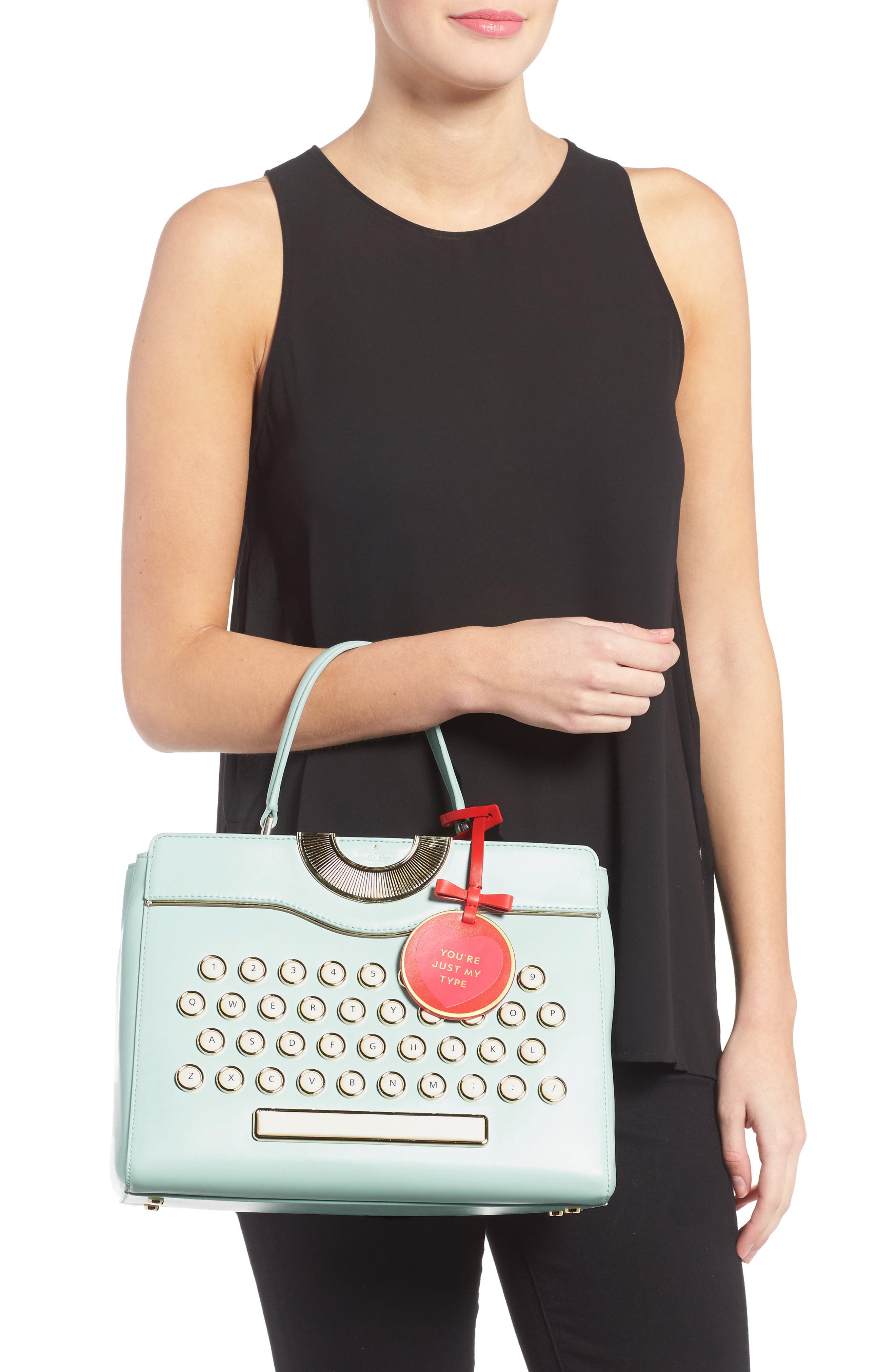 be mine - typewriter leather satchel,                             Alternate thumbnail 2, color,                             474