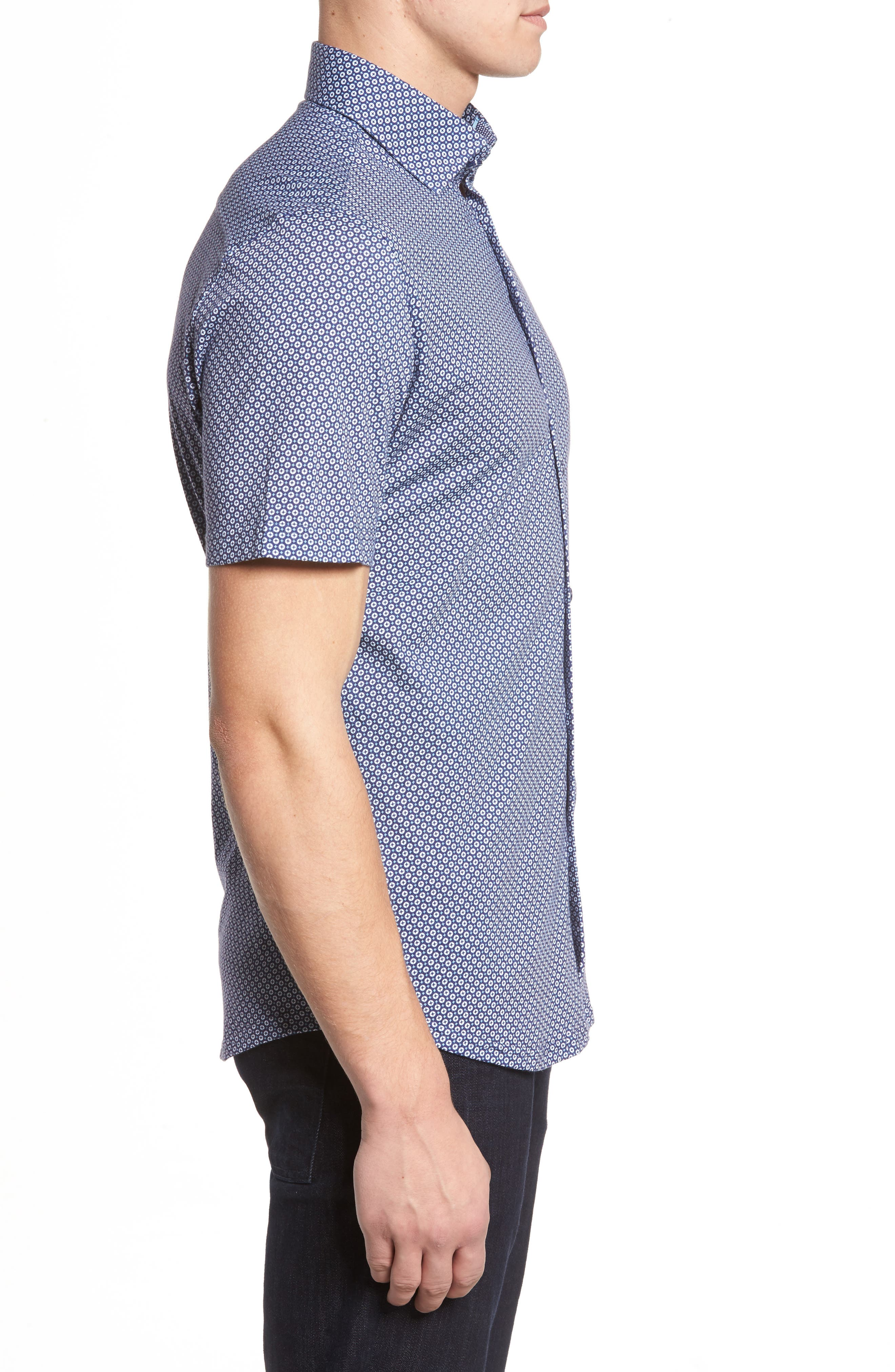 Slim Fit Geo Print Knit Sport Shirt,                             Alternate thumbnail 3, color,