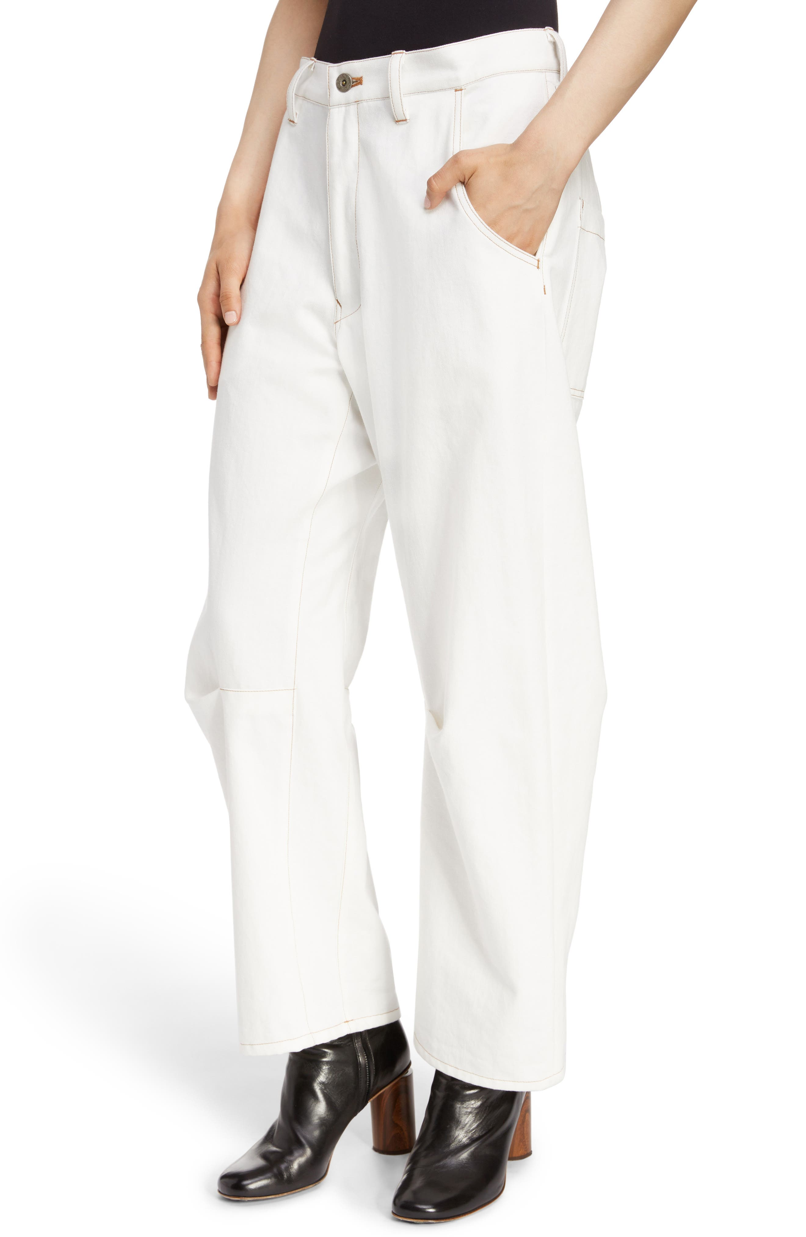 Wide Leg Pants,                             Alternate thumbnail 4, color,                             WHITE