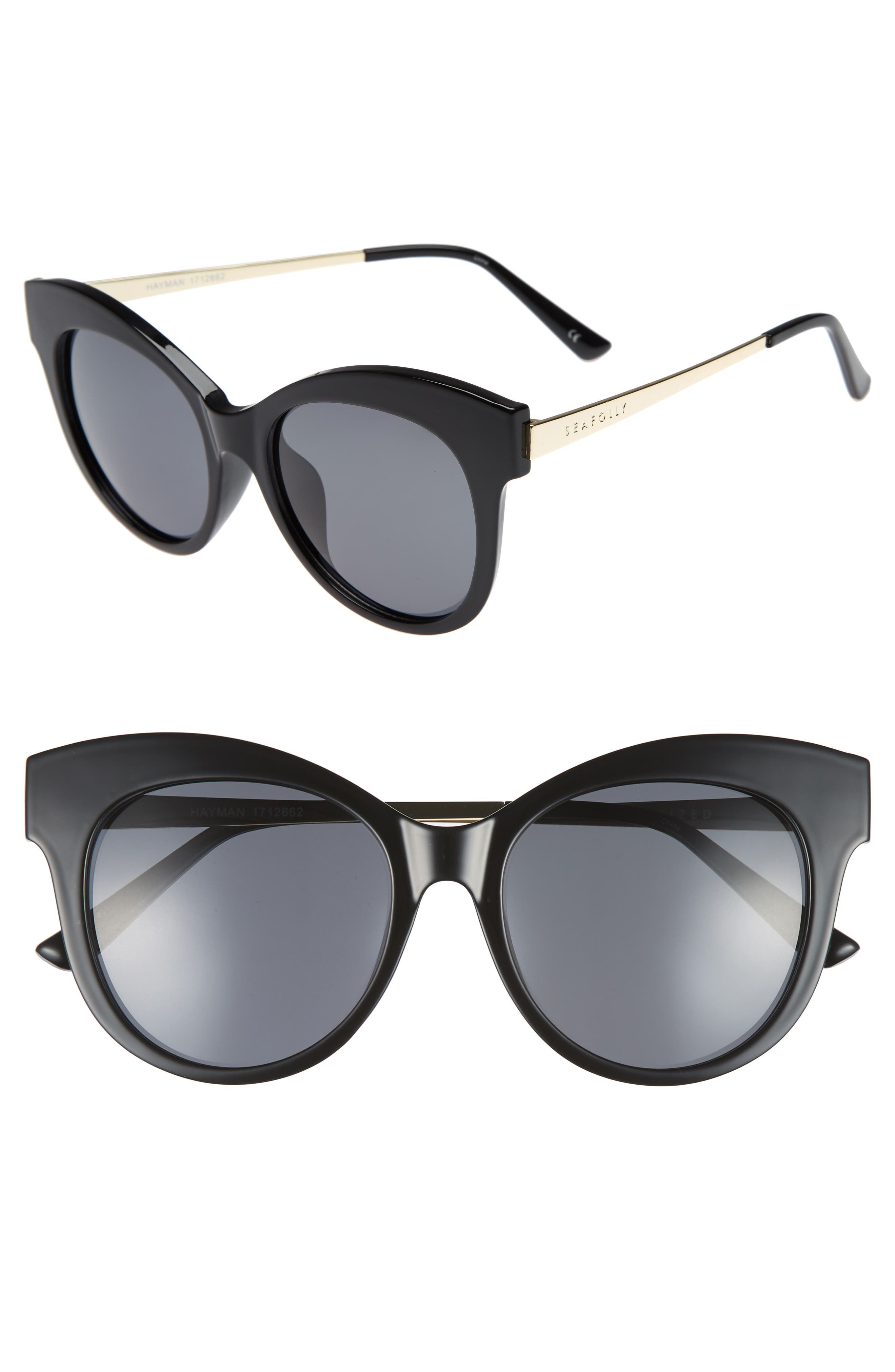 Hayman 53mm Cat Eye Sunglasses,                             Main thumbnail 1, color,                             BLACK