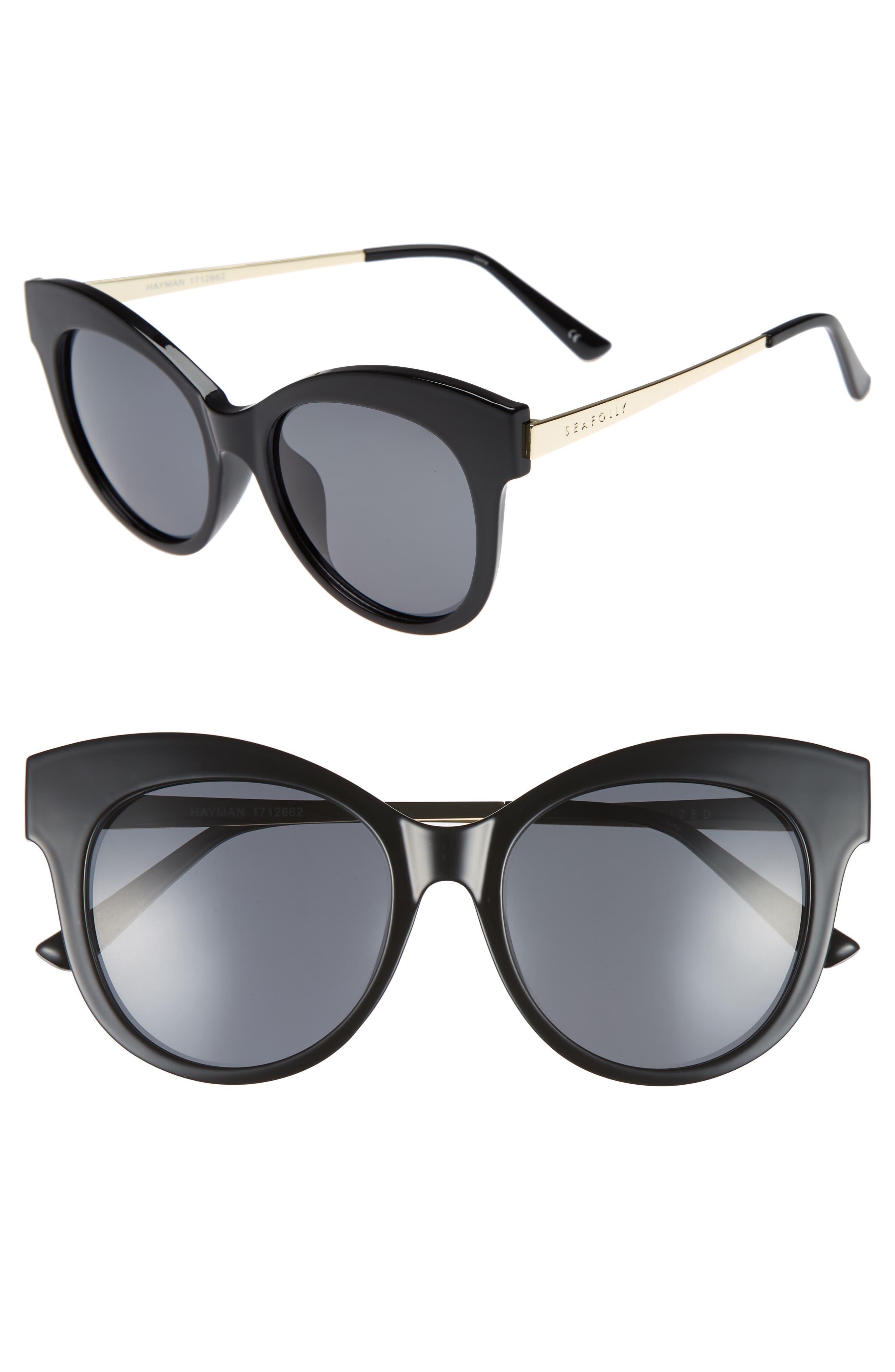 Hayman 53mm Cat Eye Sunglasses,                         Main,                         color, BLACK