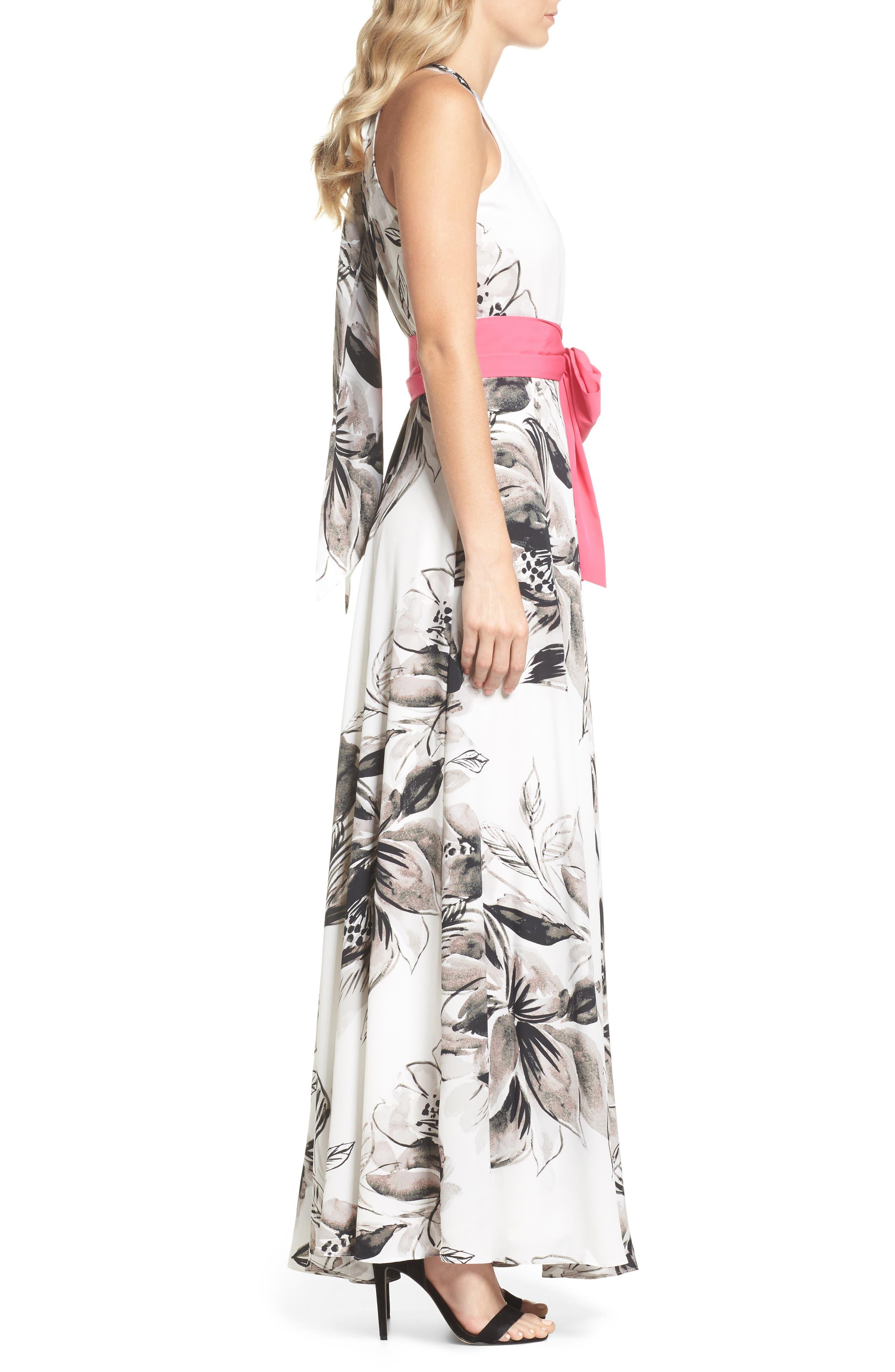 Chiffon Maxi Dress,                             Alternate thumbnail 3, color,                             011