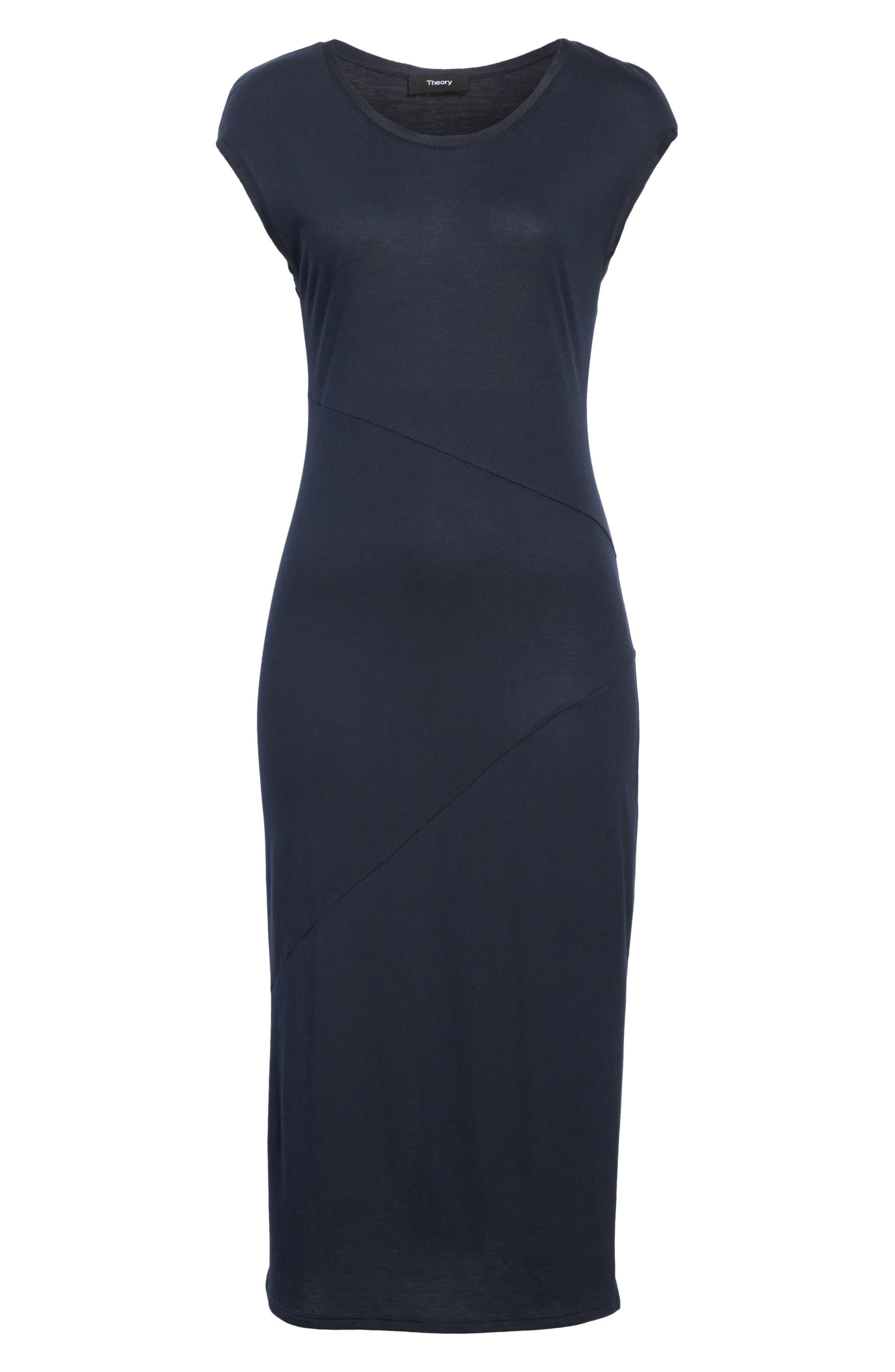 Plume Seamed Cotton Blend Jersey Dress,                             Alternate thumbnail 6, color,                             491