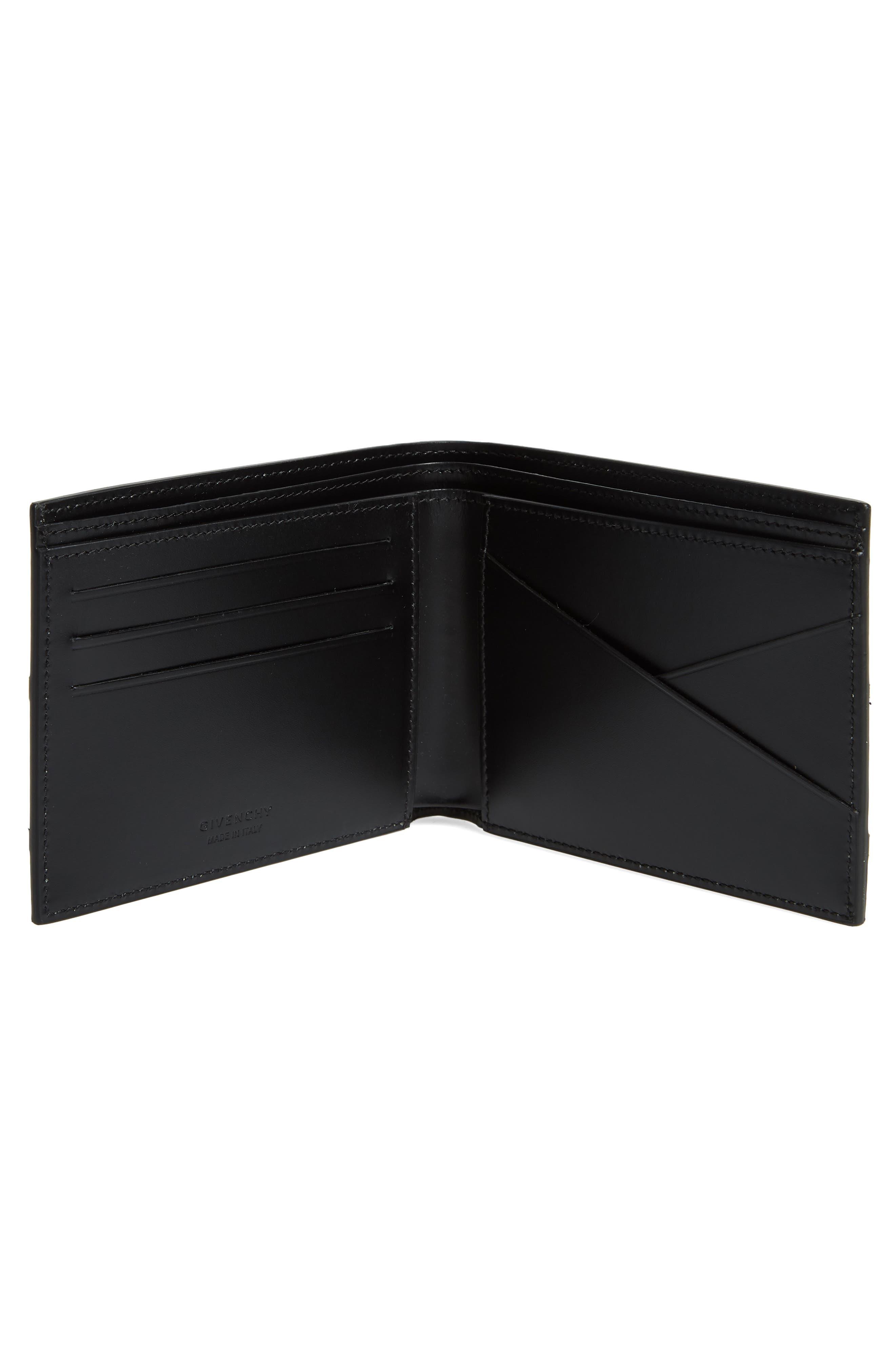 Reverse Logo Band Leather Wallet,                             Alternate thumbnail 2, color,                             BLACK/ WHITE