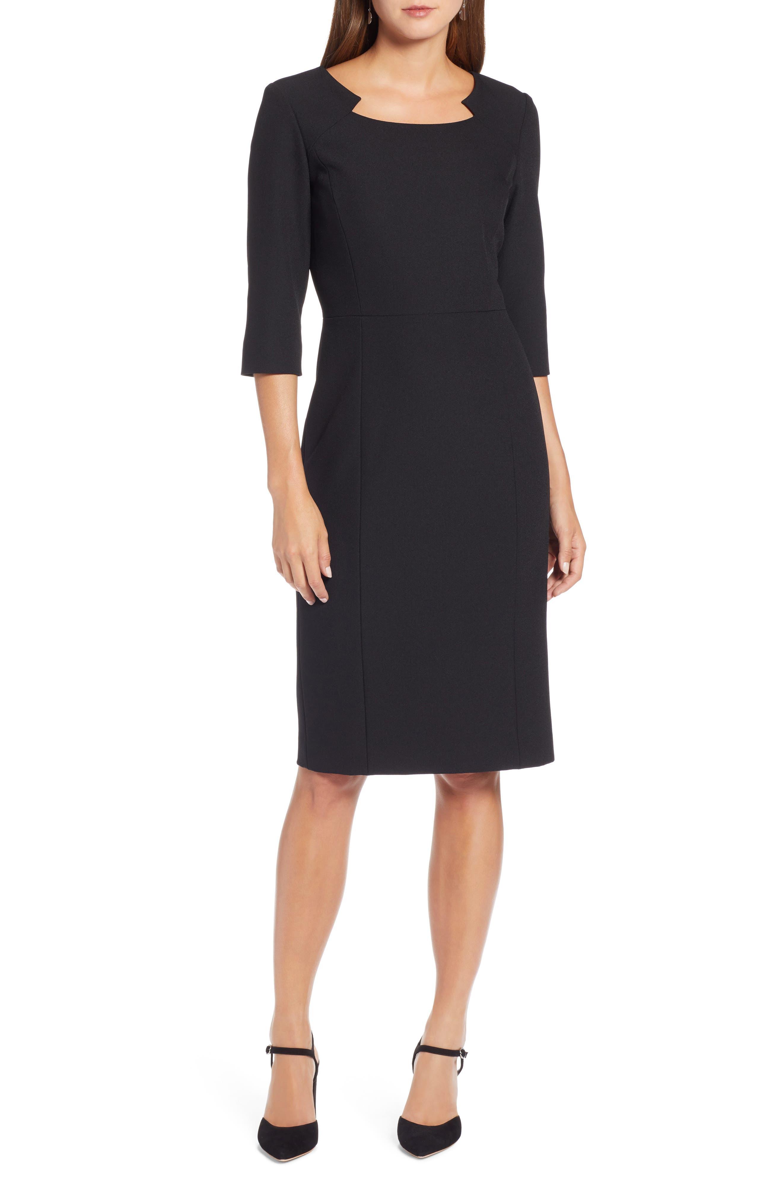 Petite Halogen Textured Stretch Sheath Dress, Black