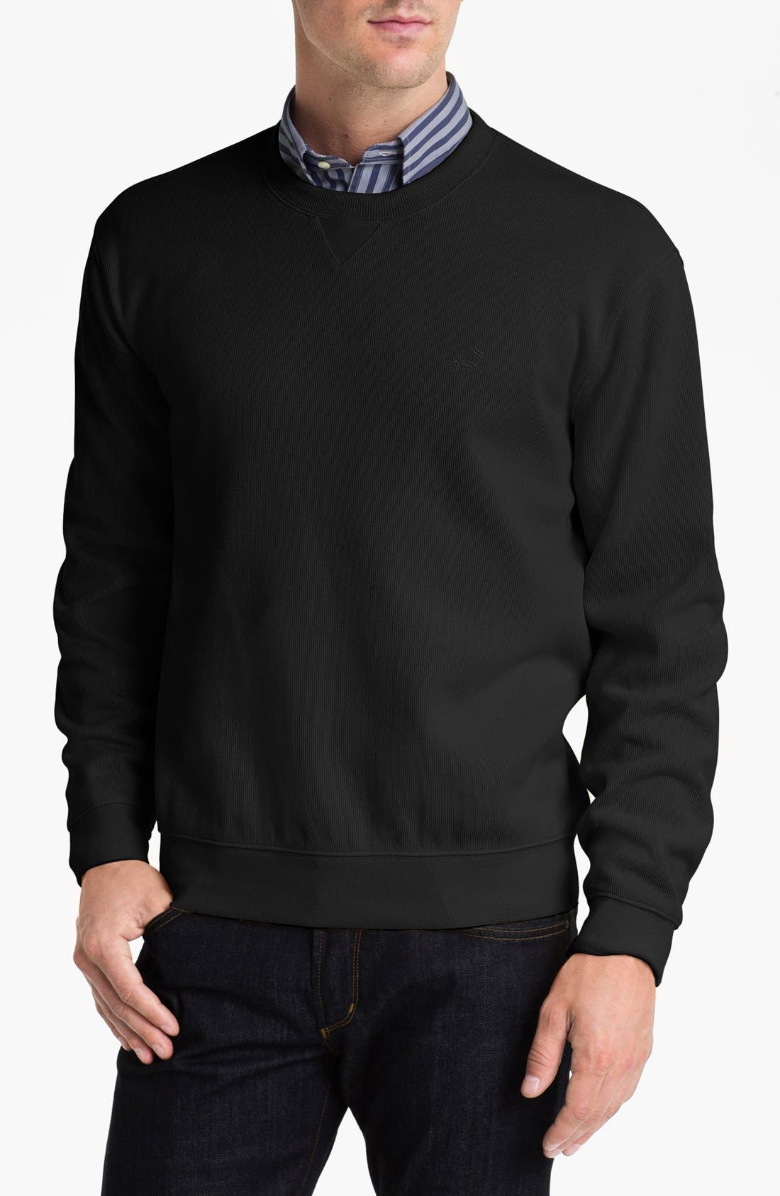 Façonnable Crewneck Regular Fit Sweatshirt,                             Main thumbnail 1, color,                             001