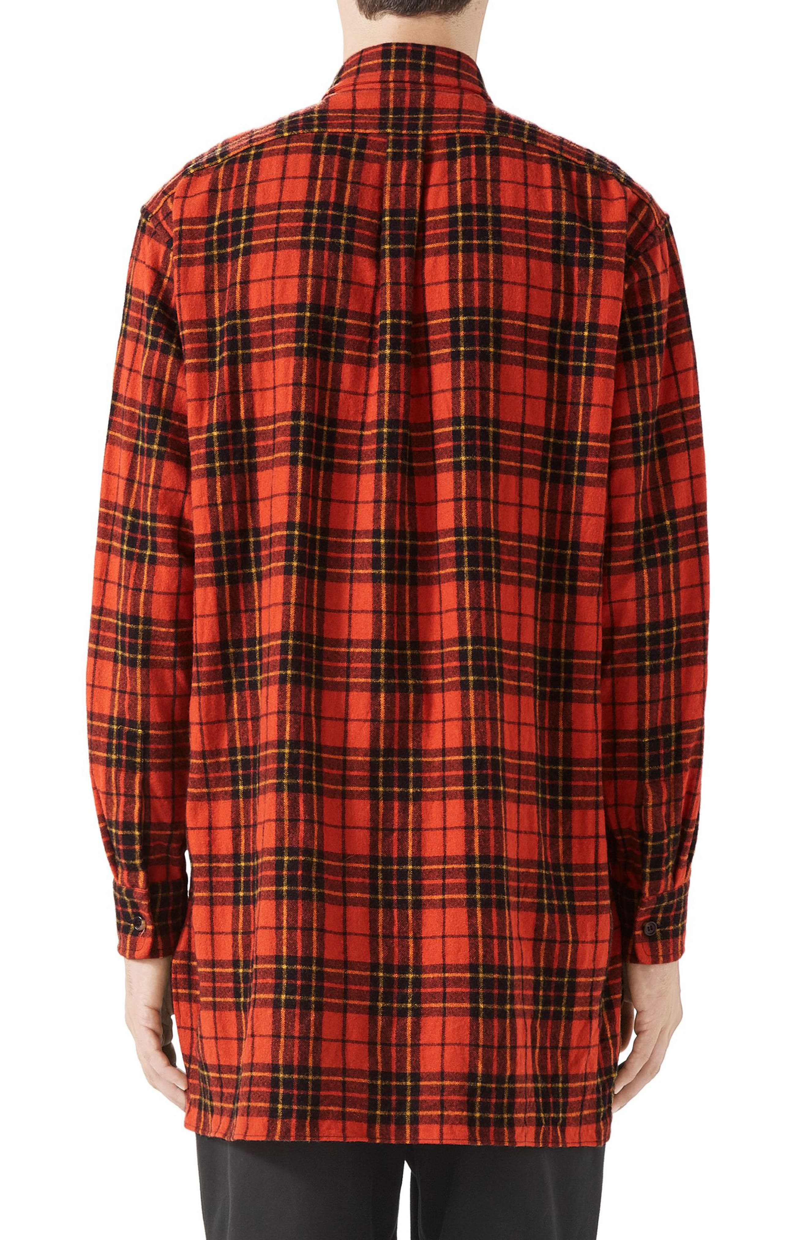 Plaid Flannel Long Sport Shirt,                             Alternate thumbnail 2, color,                             ORANGE BLACK AND YELLOW