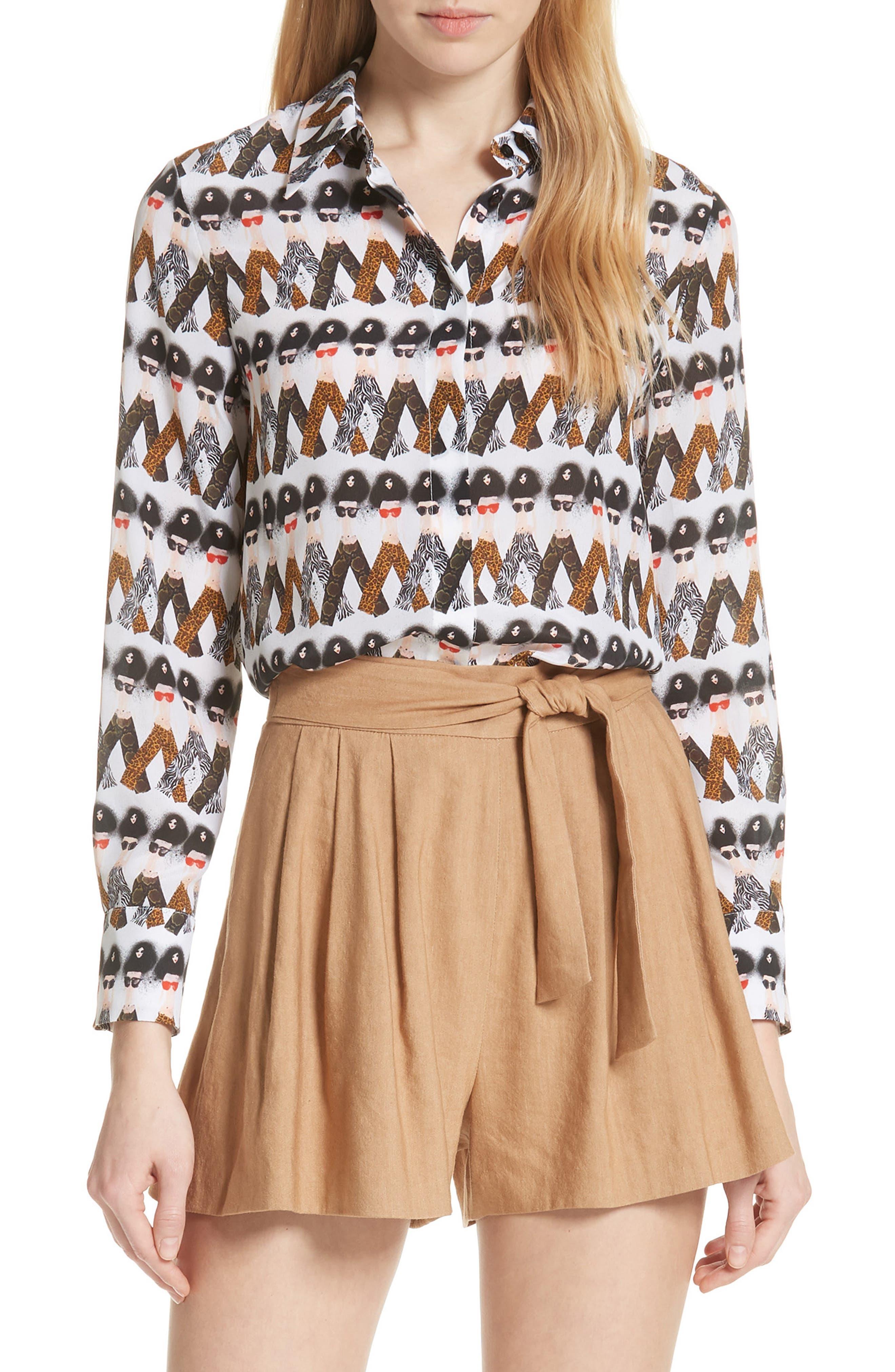 Willa Crazy Pants Silk Shirt,                         Main,                         color, 903