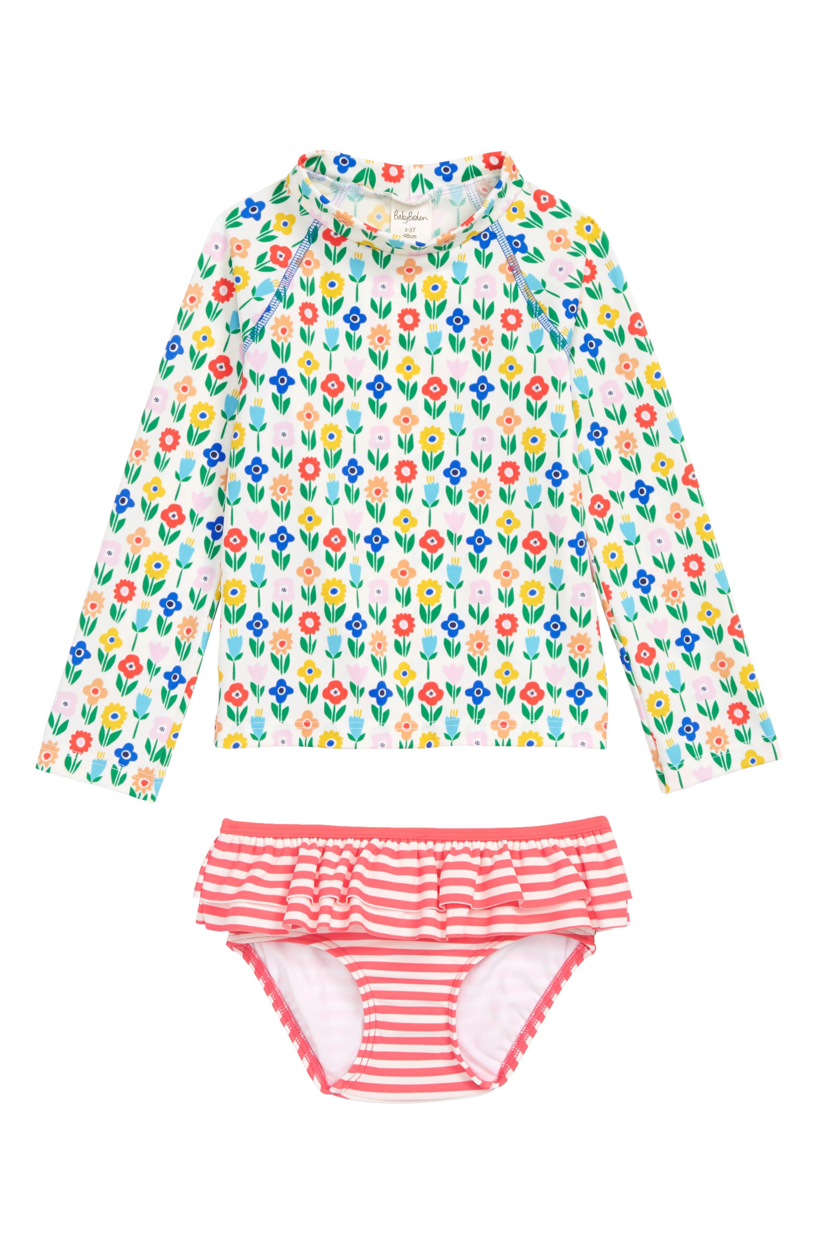 MINI BODEN Two-Piece Rashguard Swimsuit, Main, color, PNT MULTI BABY FLOWER PATCH