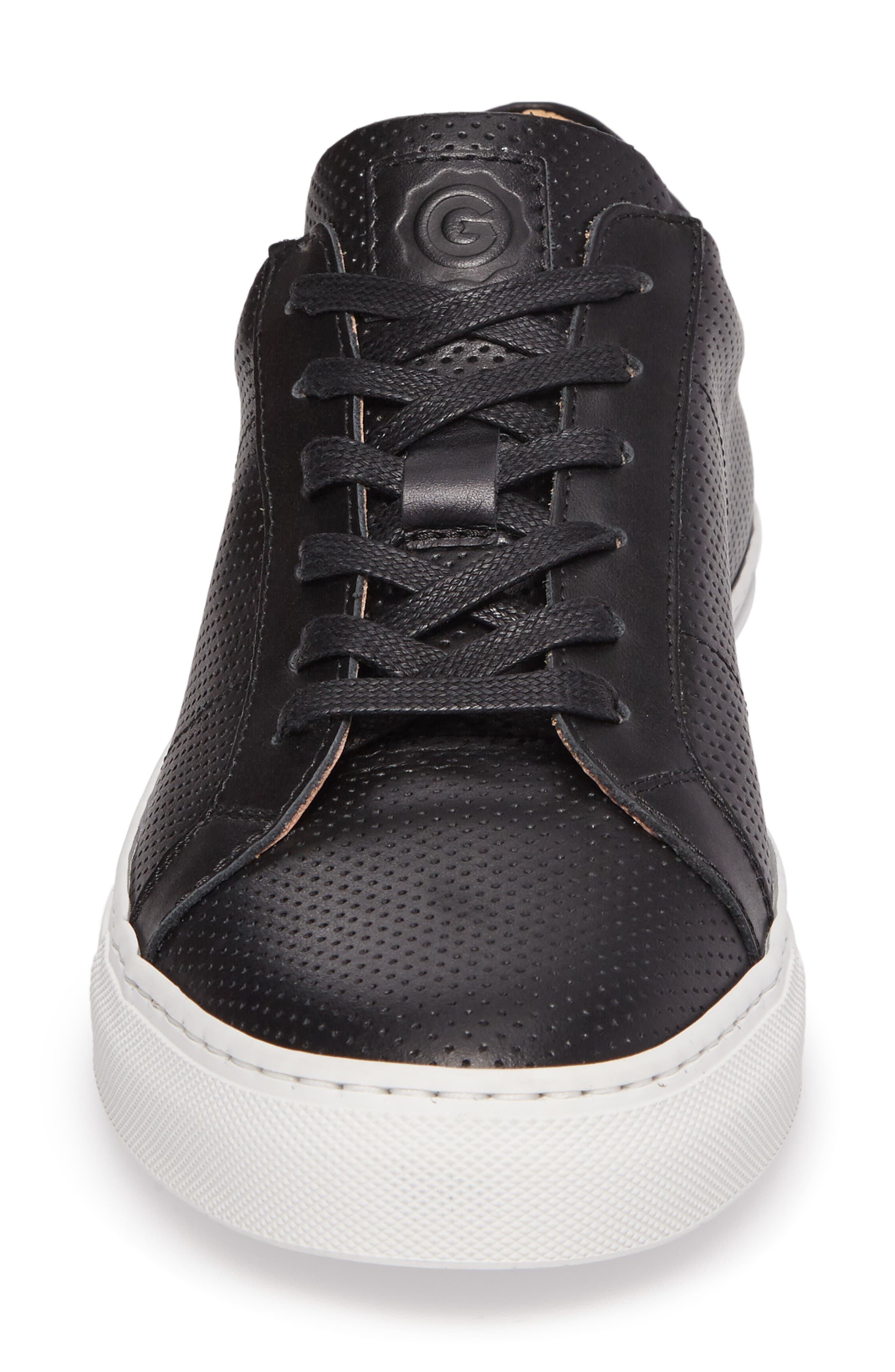 Royale Perforated Low Top Sneaker,                             Alternate thumbnail 4, color,                             001