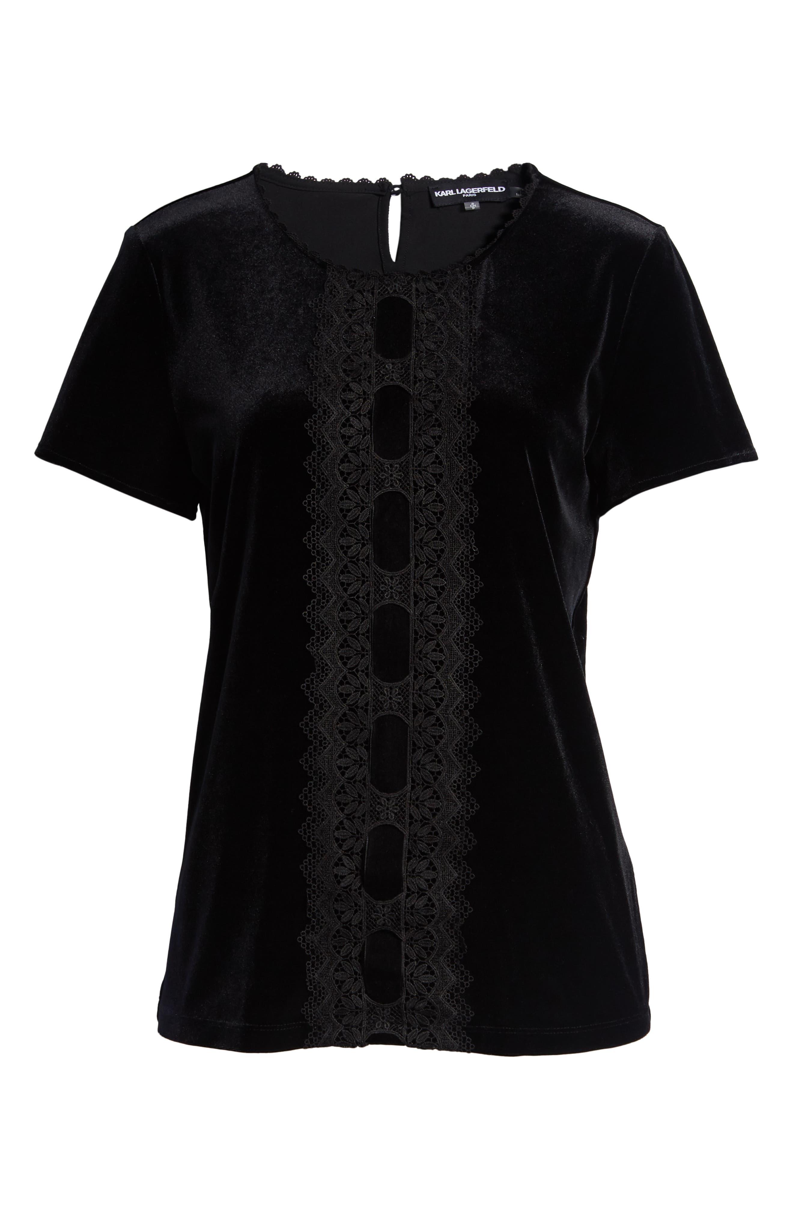 Karl Lagerfeld Lace Panel Velvet Tee,                             Alternate thumbnail 6, color,                             BLACK
