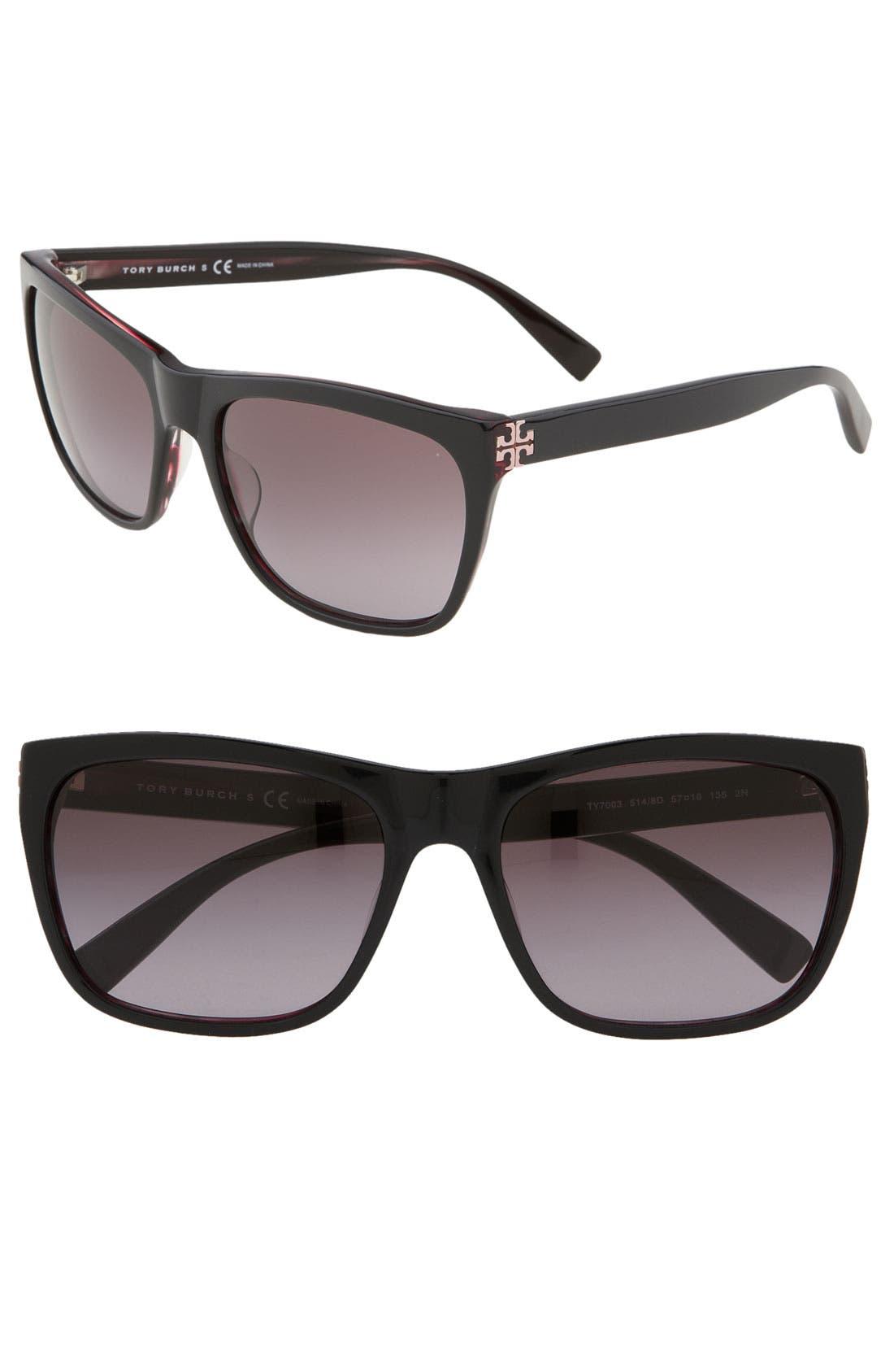 Retro Inspired 57mm Square Sunglasses,                             Main thumbnail 1, color,                             020