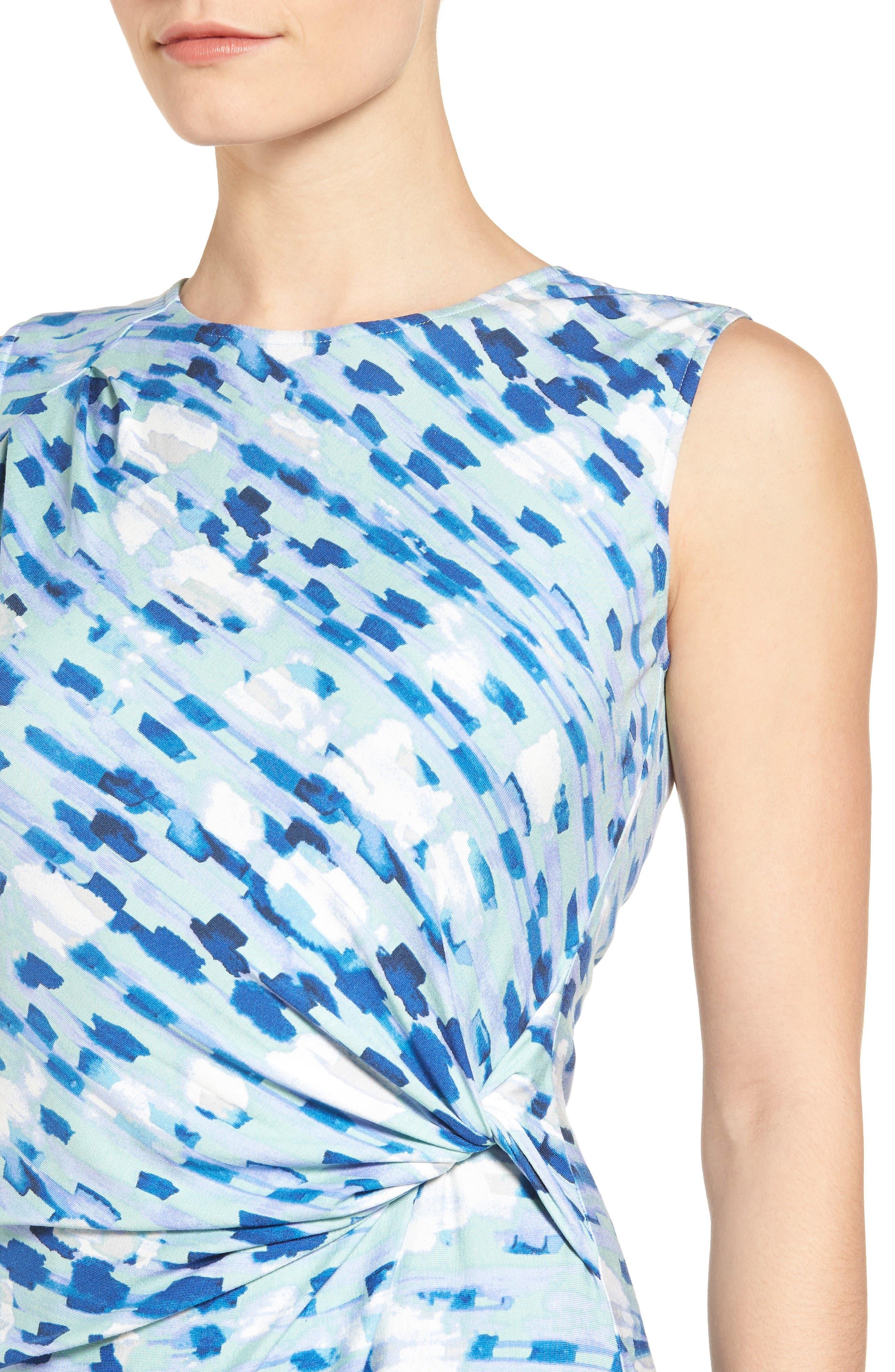 Water Lane Bias Twist Sheath Dress,                             Alternate thumbnail 4, color,                             490