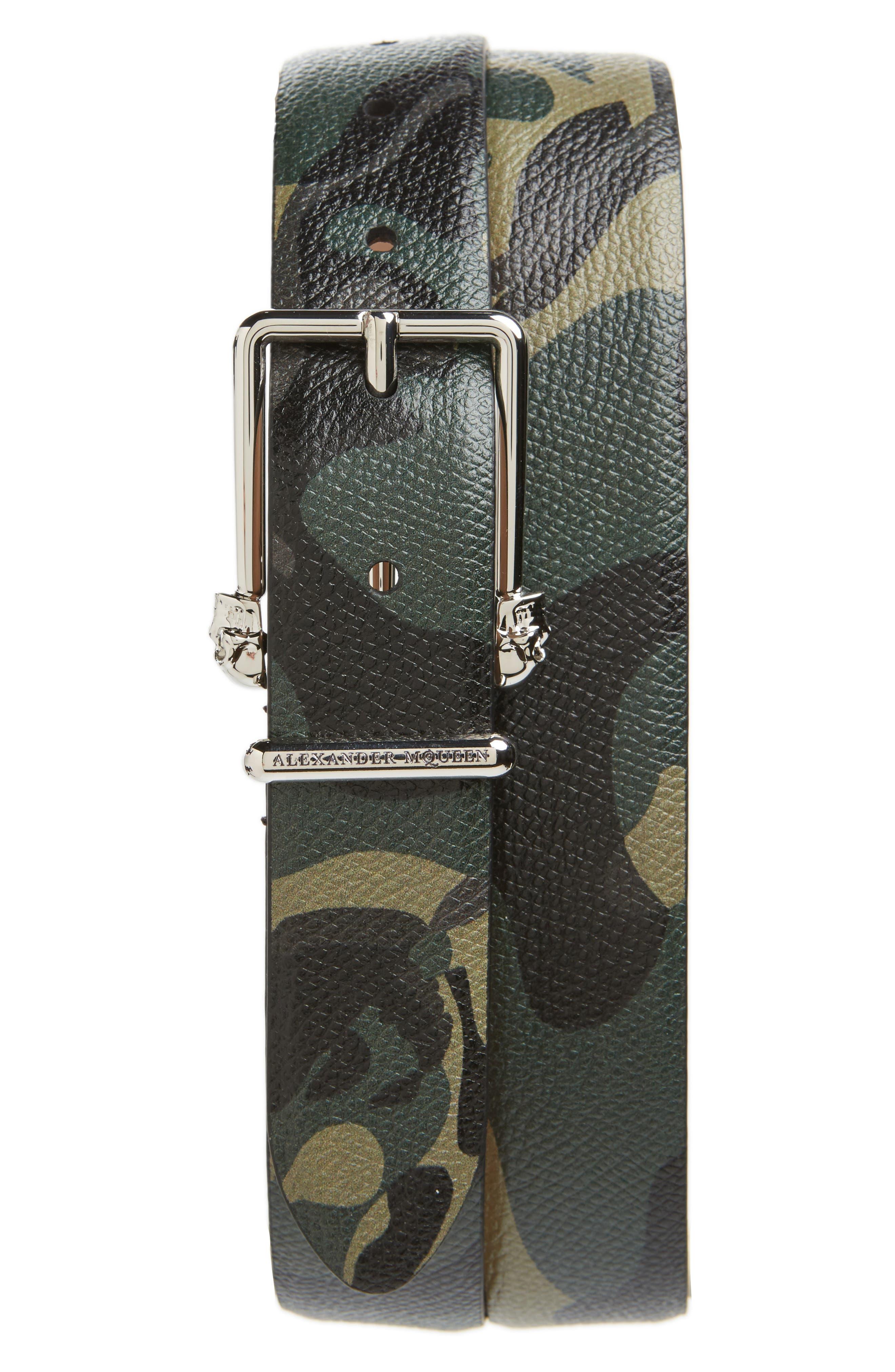 ALEXANDER MCQUEEN Camo Leather Belt, Main, color, 009