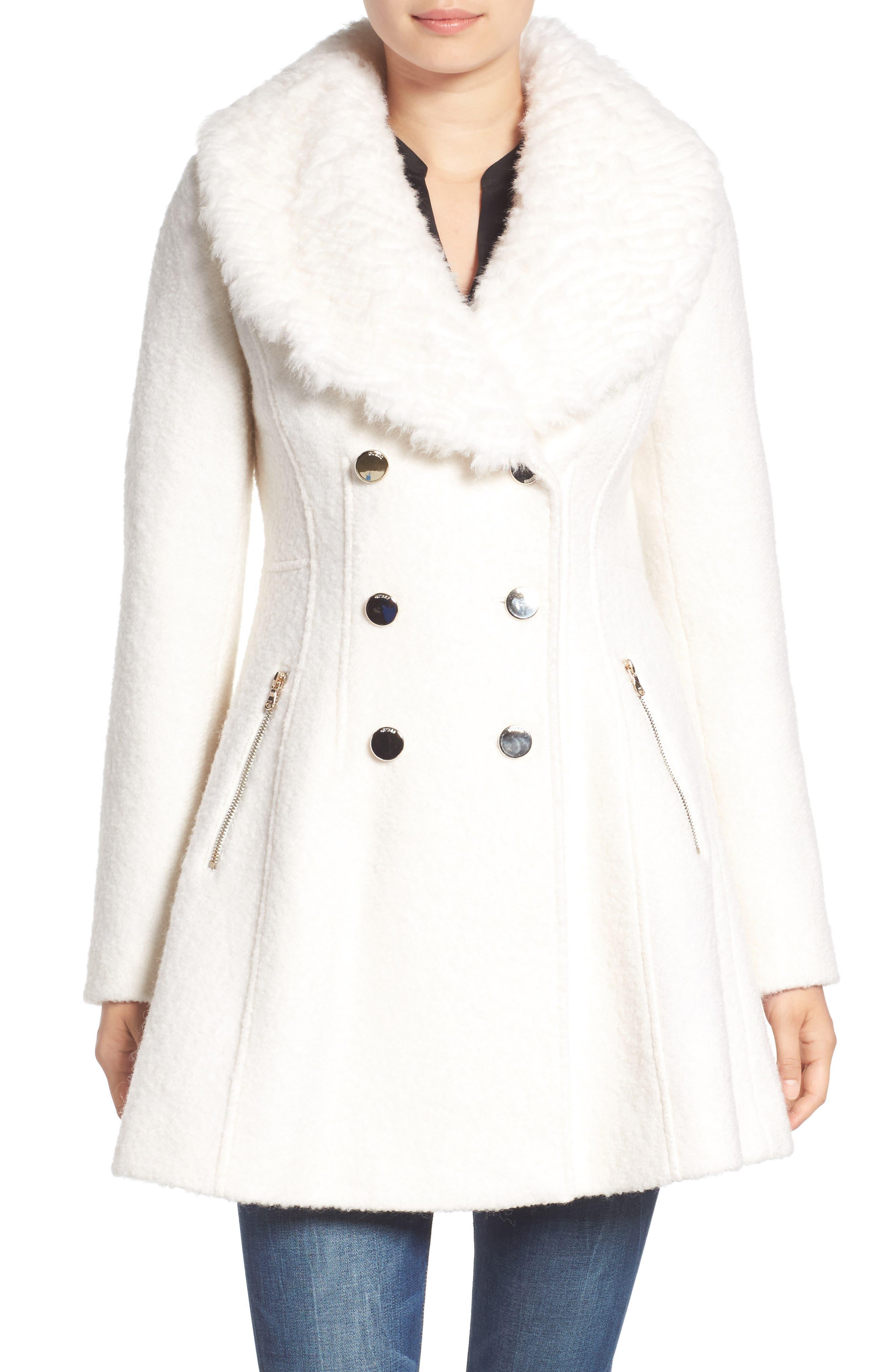 Bouclé Fit & Flare Coat with Faux Fur Collar,                             Alternate thumbnail 10, color,
