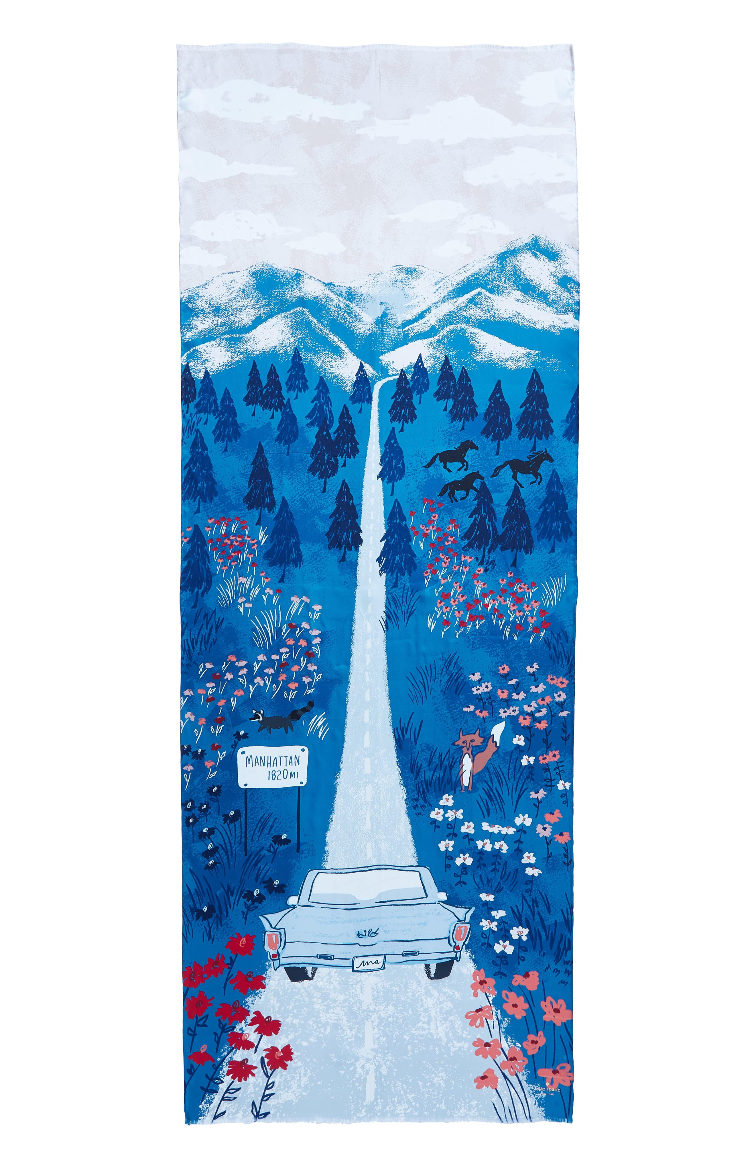 road oblong silk scarf,                             Alternate thumbnail 3, color,                             409