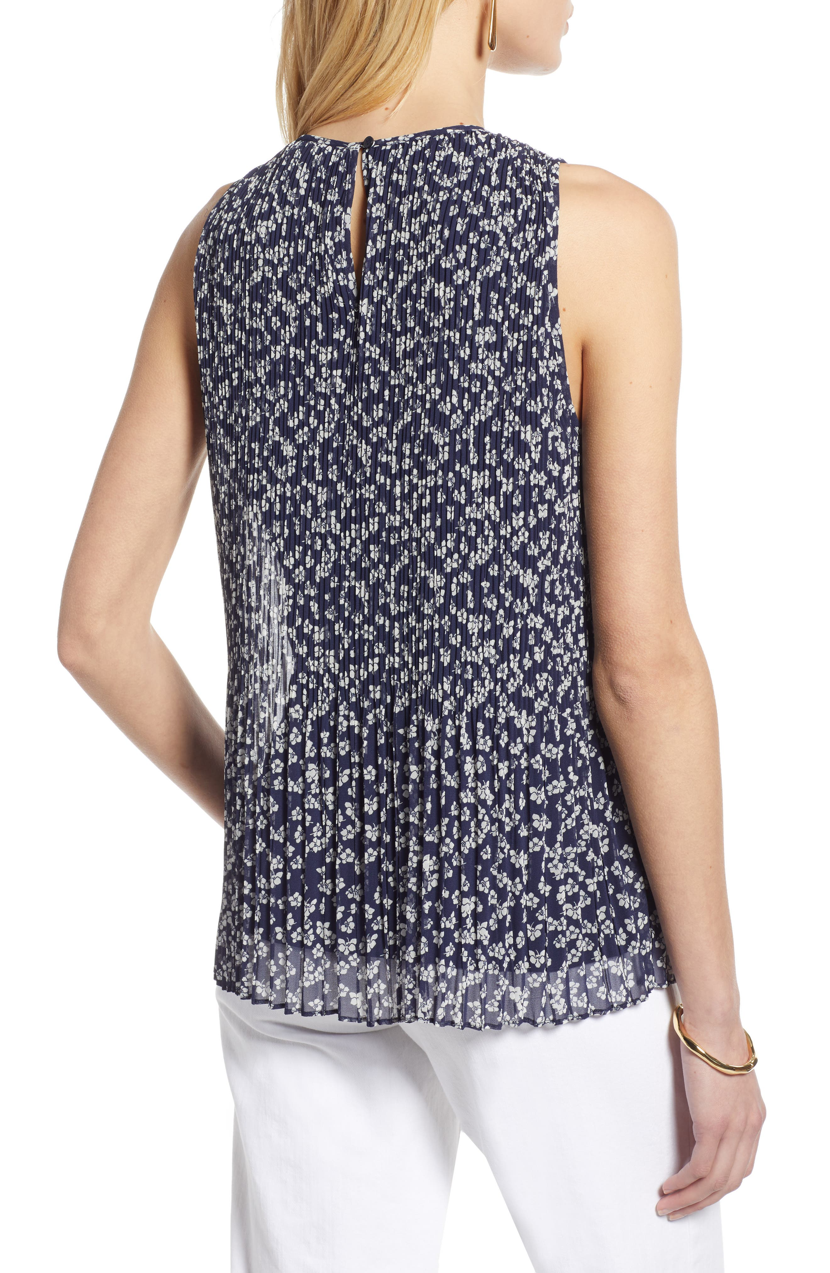 HALOGEN<SUP>®</SUP>,                             Pleated Top,                             Alternate thumbnail 2, color,                             NAVY FLORAL