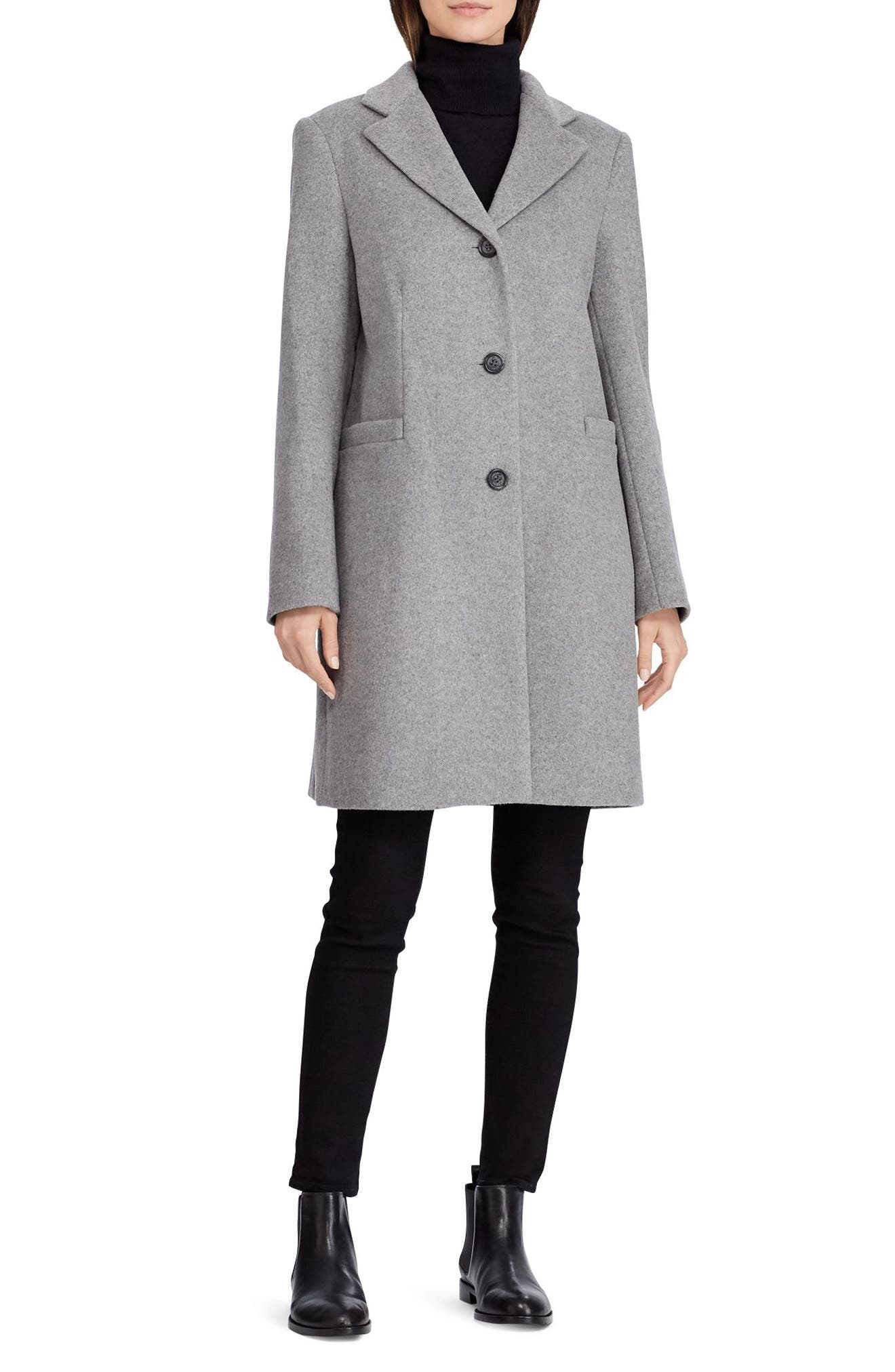 Wool Blend Reefer Coat,                             Main thumbnail 1, color,                             ALASKAN GREY